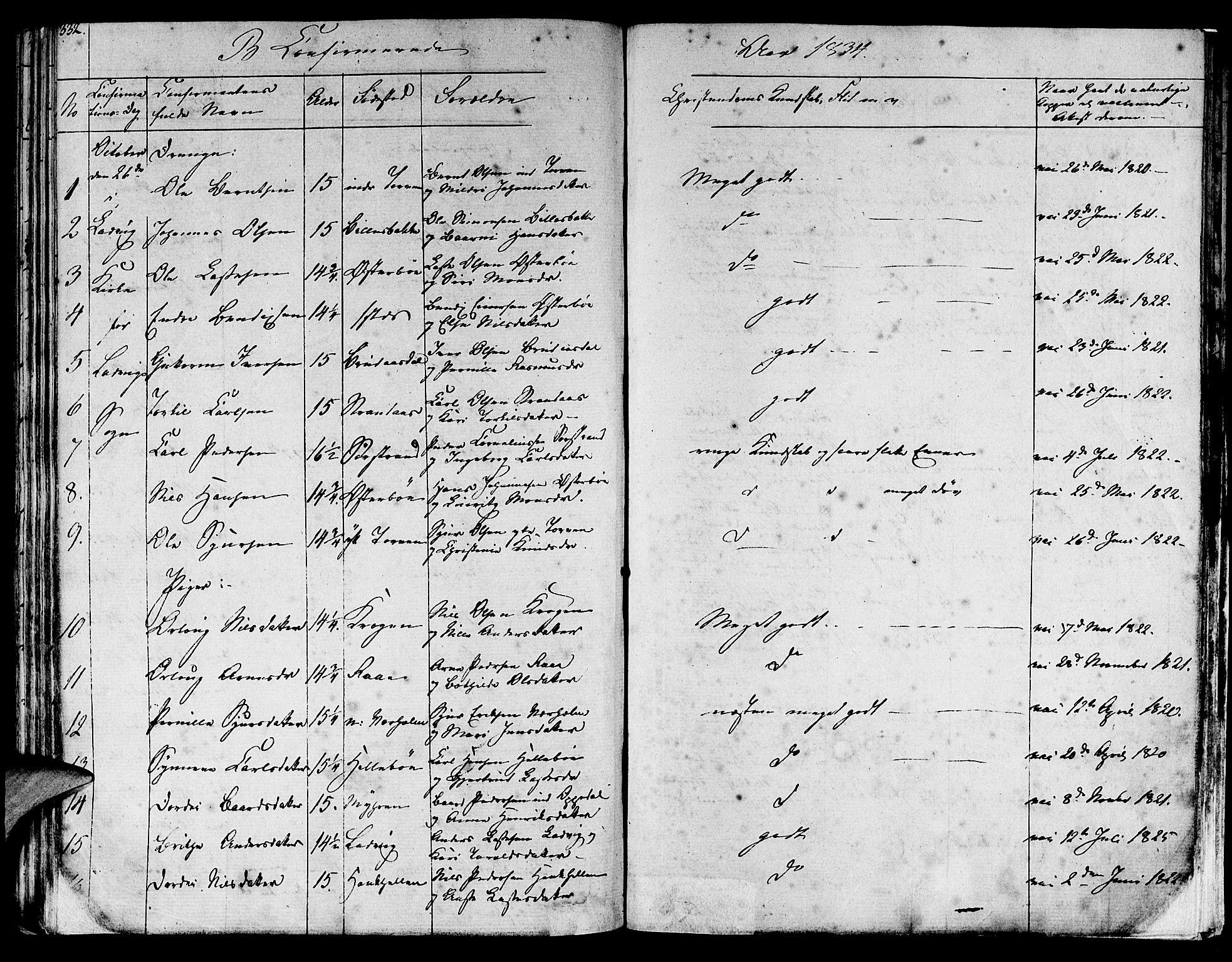 SAB, Lavik sokneprestembete, Ministerialbok nr. A 2I, 1821-1842, s. 332