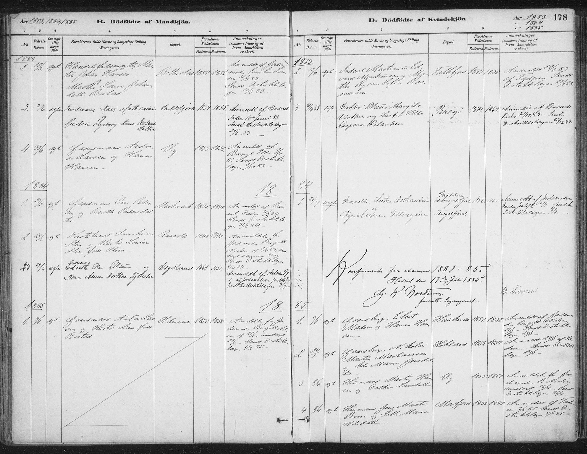SAT, Ministerialprotokoller, klokkerbøker og fødselsregistre - Nordland, 888/L1244: Ministerialbok nr. 888A10, 1880-1890, s. 178