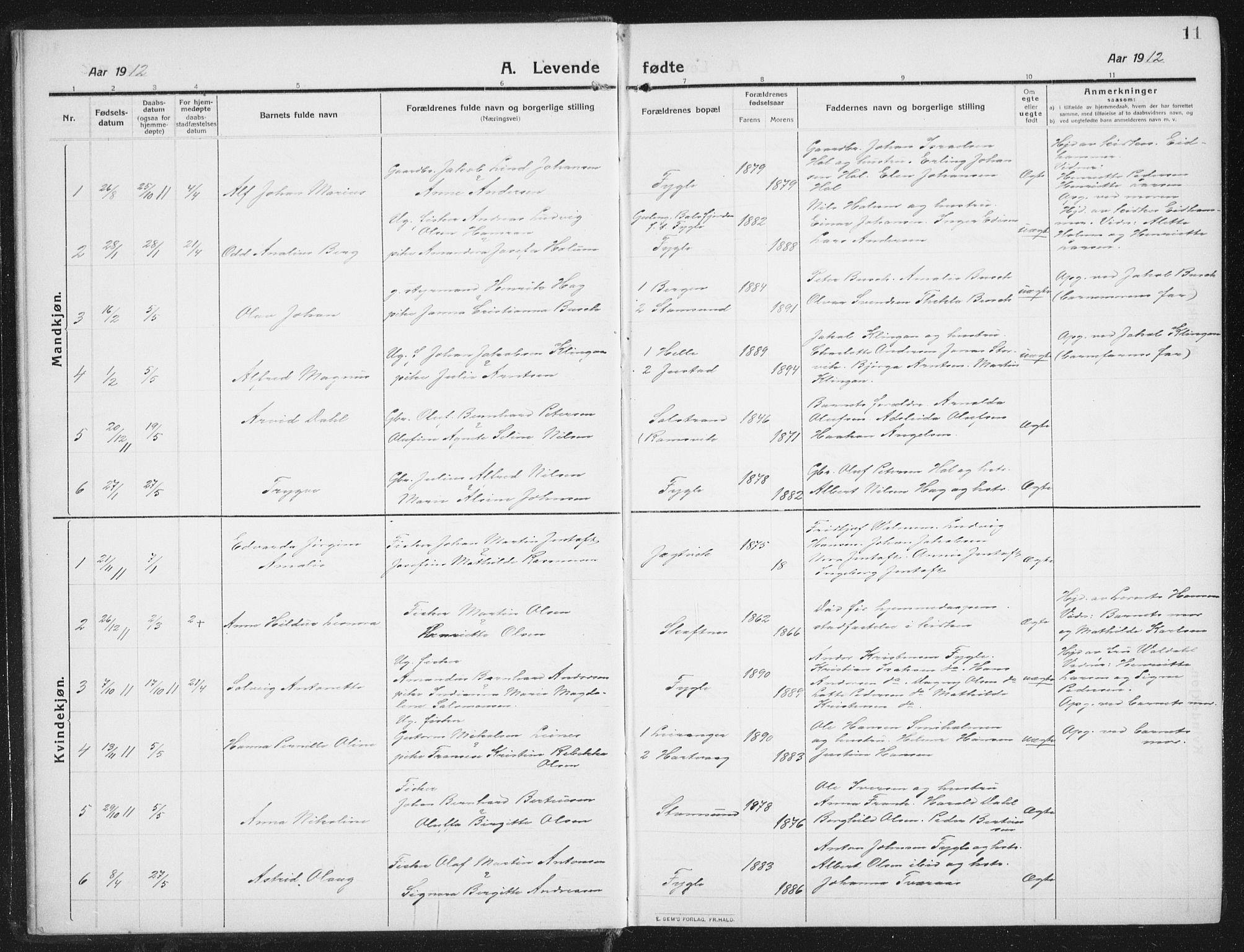 SAT, Ministerialprotokoller, klokkerbøker og fødselsregistre - Nordland, 882/L1183: Klokkerbok nr. 882C01, 1911-1938, s. 11