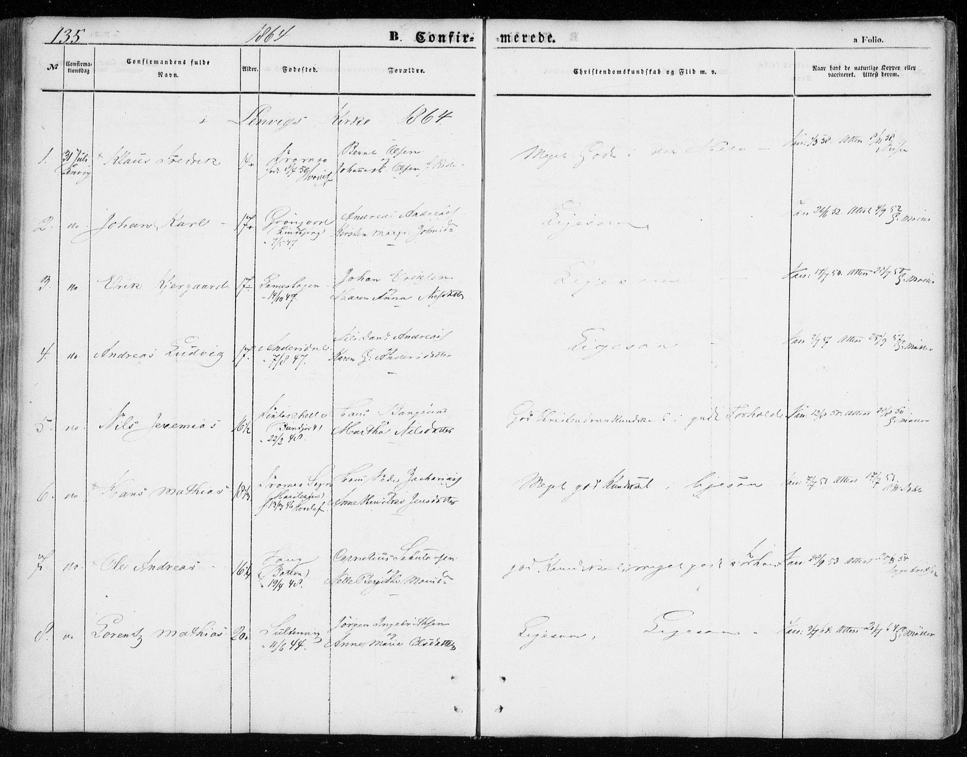 SATØ, Lenvik sokneprestembete, H/Ha: Ministerialbok nr. 7, 1855-1865, s. 135