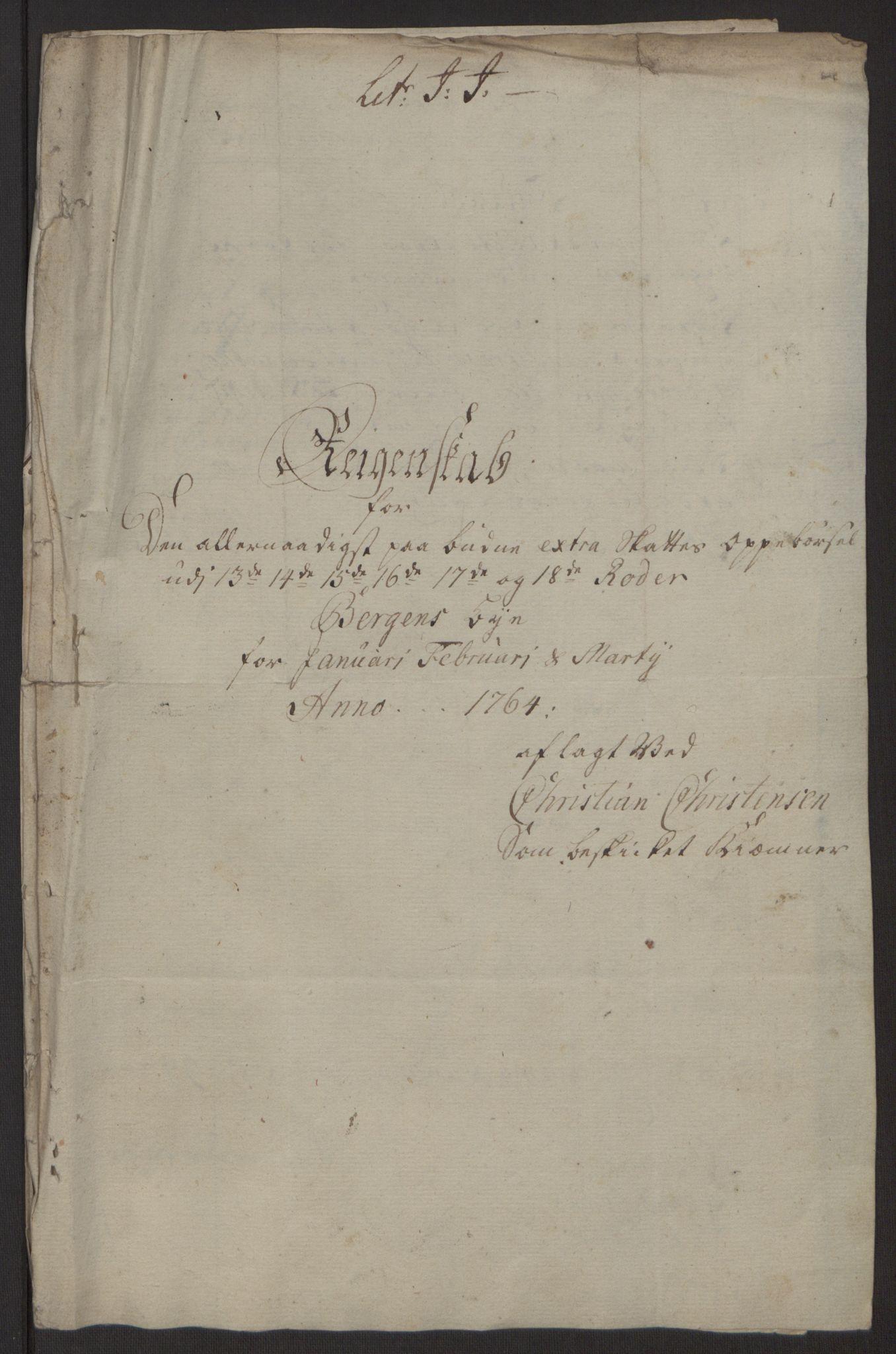 RA, Rentekammeret inntil 1814, Reviderte regnskaper, Byregnskaper, R/Rp/L0368: [P21] Kontribusjonsregnskap, 1764, s. 10