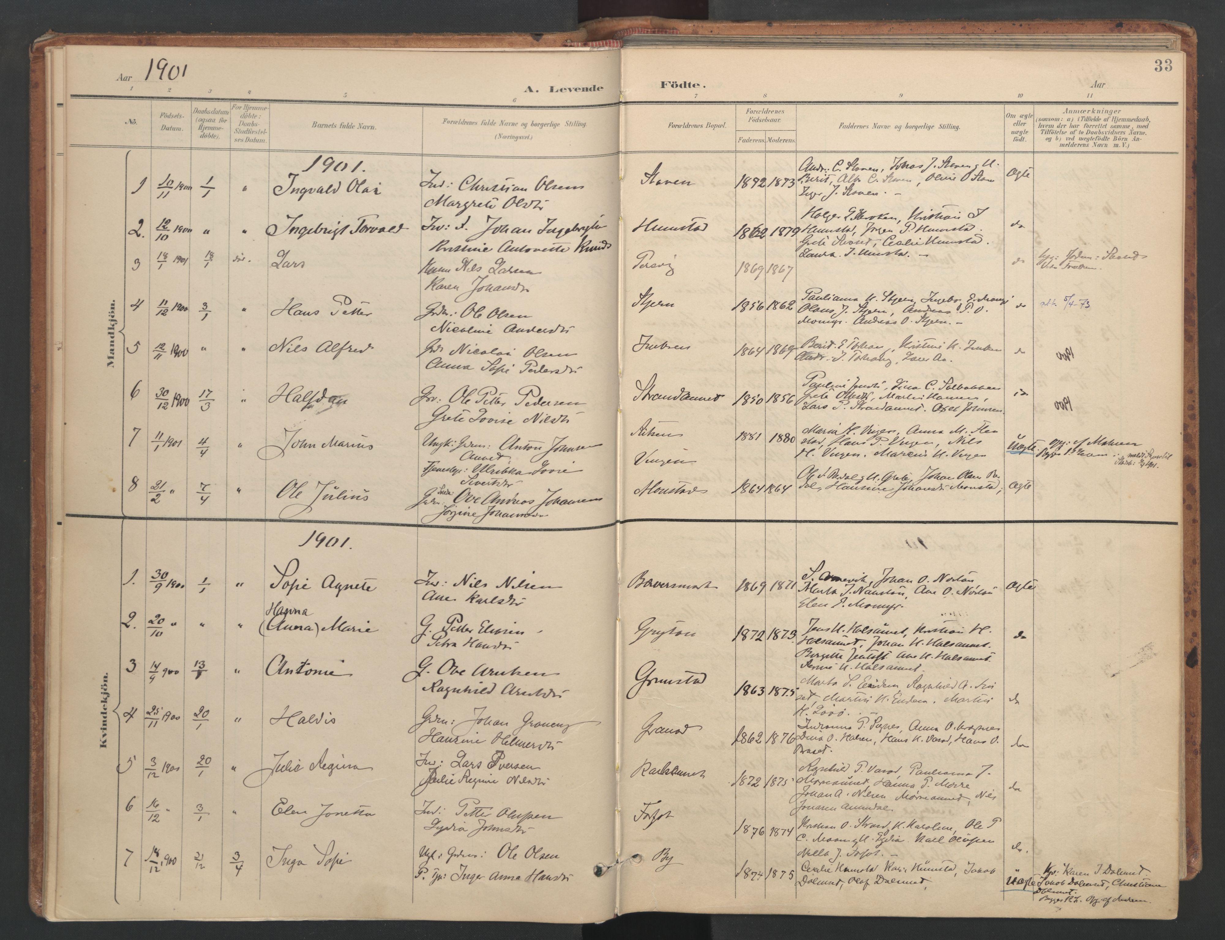 SAT, Ministerialprotokoller, klokkerbøker og fødselsregistre - Sør-Trøndelag, 655/L0681: Ministerialbok nr. 655A10, 1895-1907, s. 33