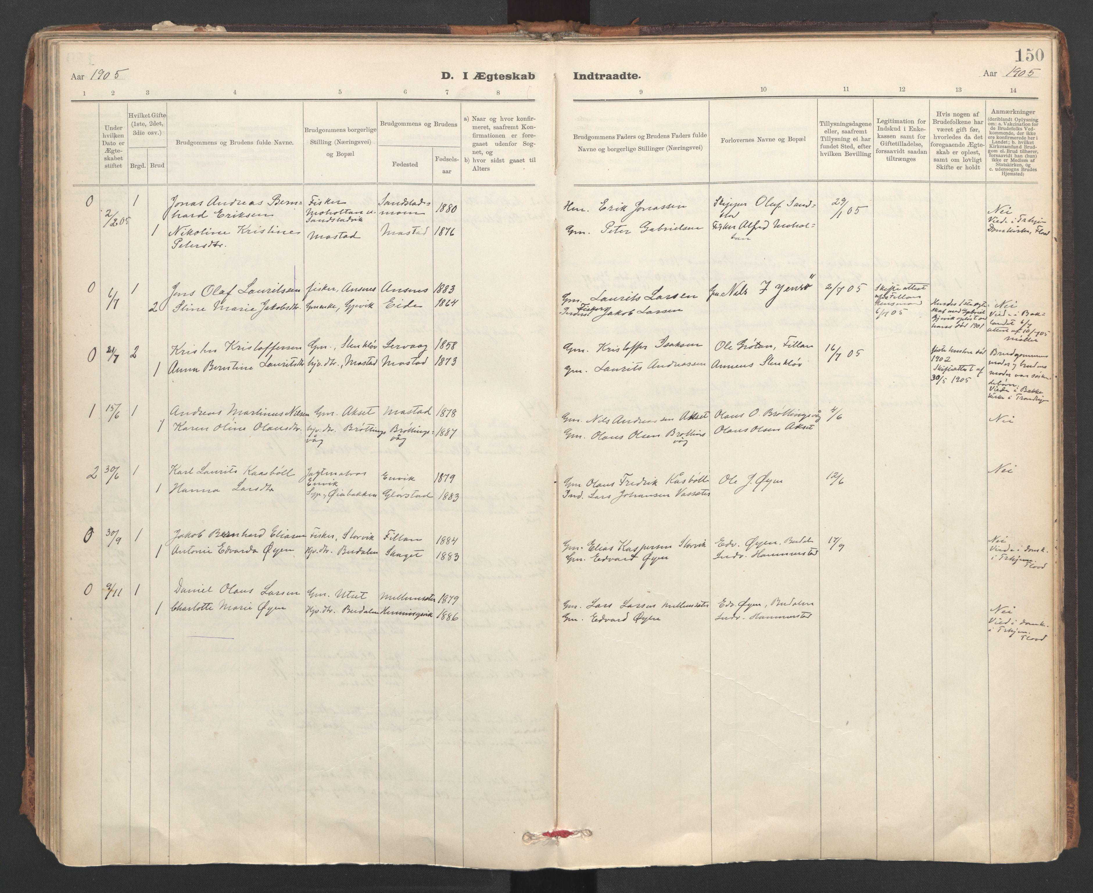 SAT, Ministerialprotokoller, klokkerbøker og fødselsregistre - Sør-Trøndelag, 637/L0559: Ministerialbok nr. 637A02, 1899-1923, s. 150