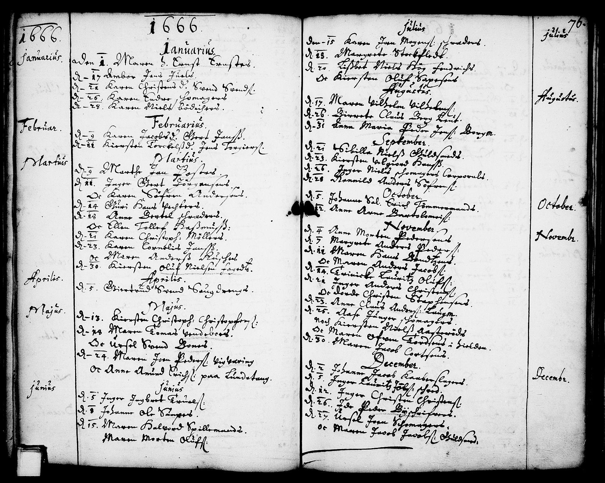 SAKO, Skien kirkebøker, F/Fa/L0001: Ministerialbok nr. 1, 1659-1679, s. 76