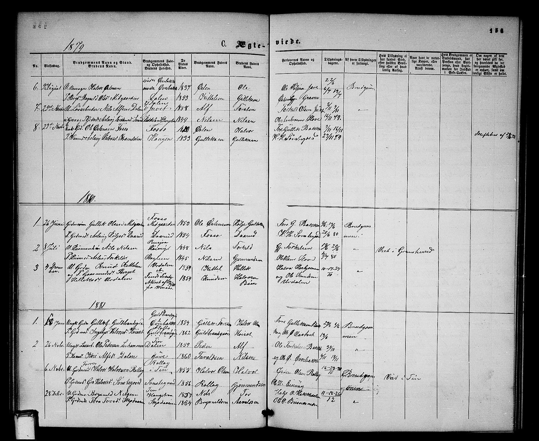 SAKO, Gransherad kirkebøker, G/Gb/L0002: Klokkerbok nr. II 2, 1860-1886, s. 156