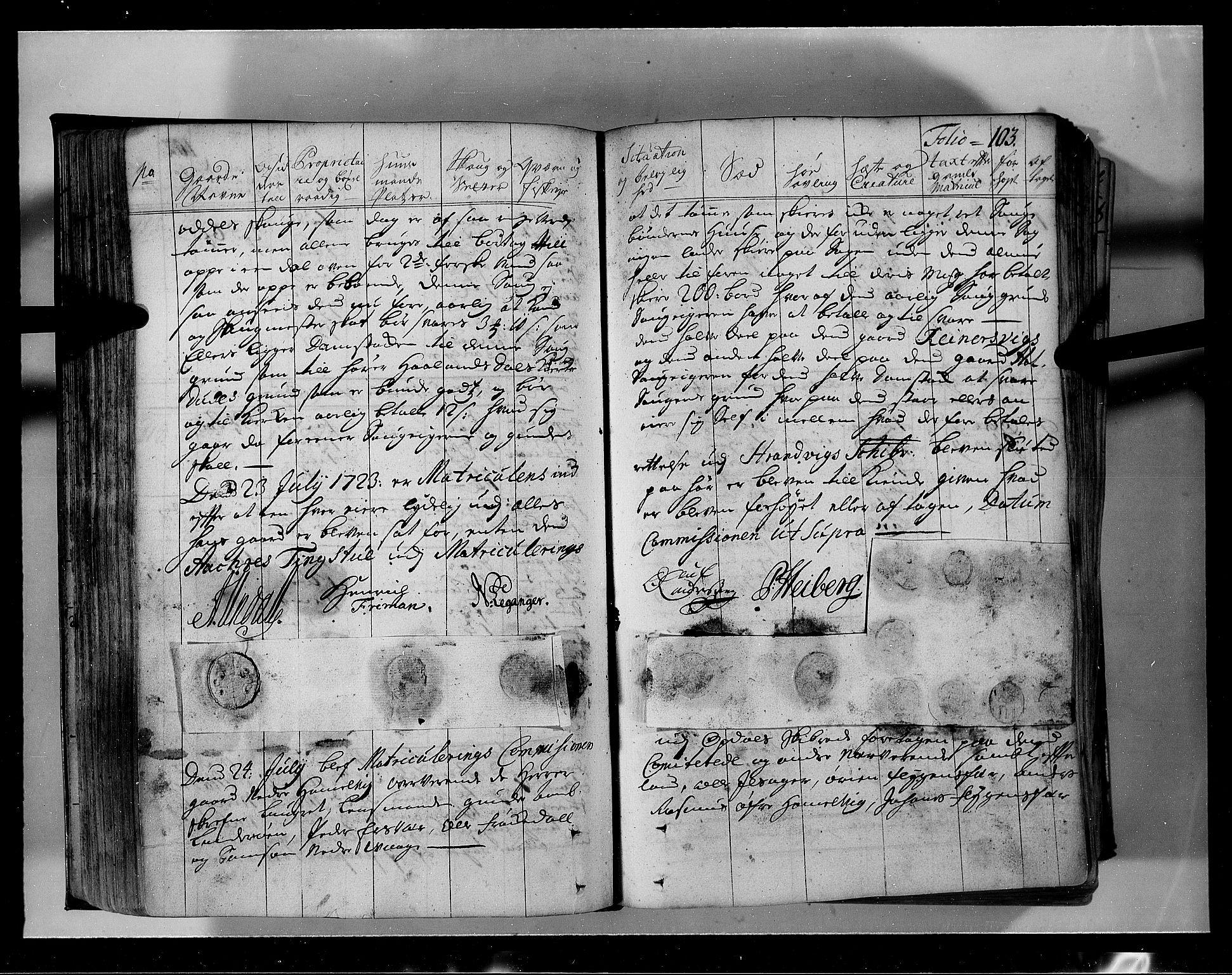 RA, Rentekammeret inntil 1814, Realistisk ordnet avdeling, N/Nb/Nbf/L0134: Sunnhordland eksaminasjonsprotokoll, 1723, s. 102b-103a