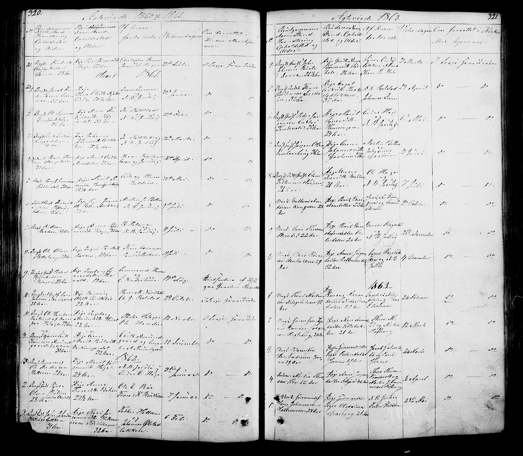 SAH, Lesja prestekontor, Klokkerbok nr. 5, 1850-1894, s. 320-321