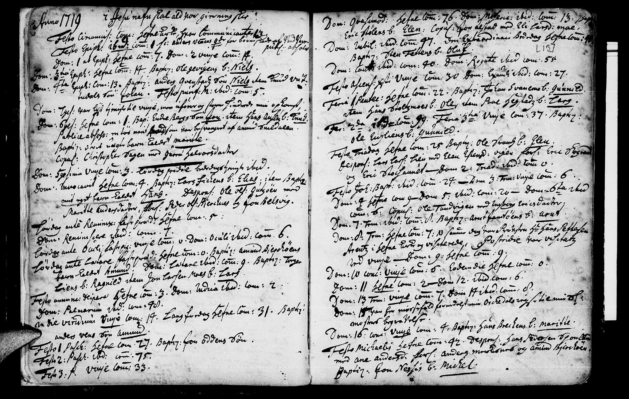 SAT, Ministerialprotokoller, klokkerbøker og fødselsregistre - Sør-Trøndelag, 630/L0488: Ministerialbok nr. 630A01, 1717-1756, s. 12-13