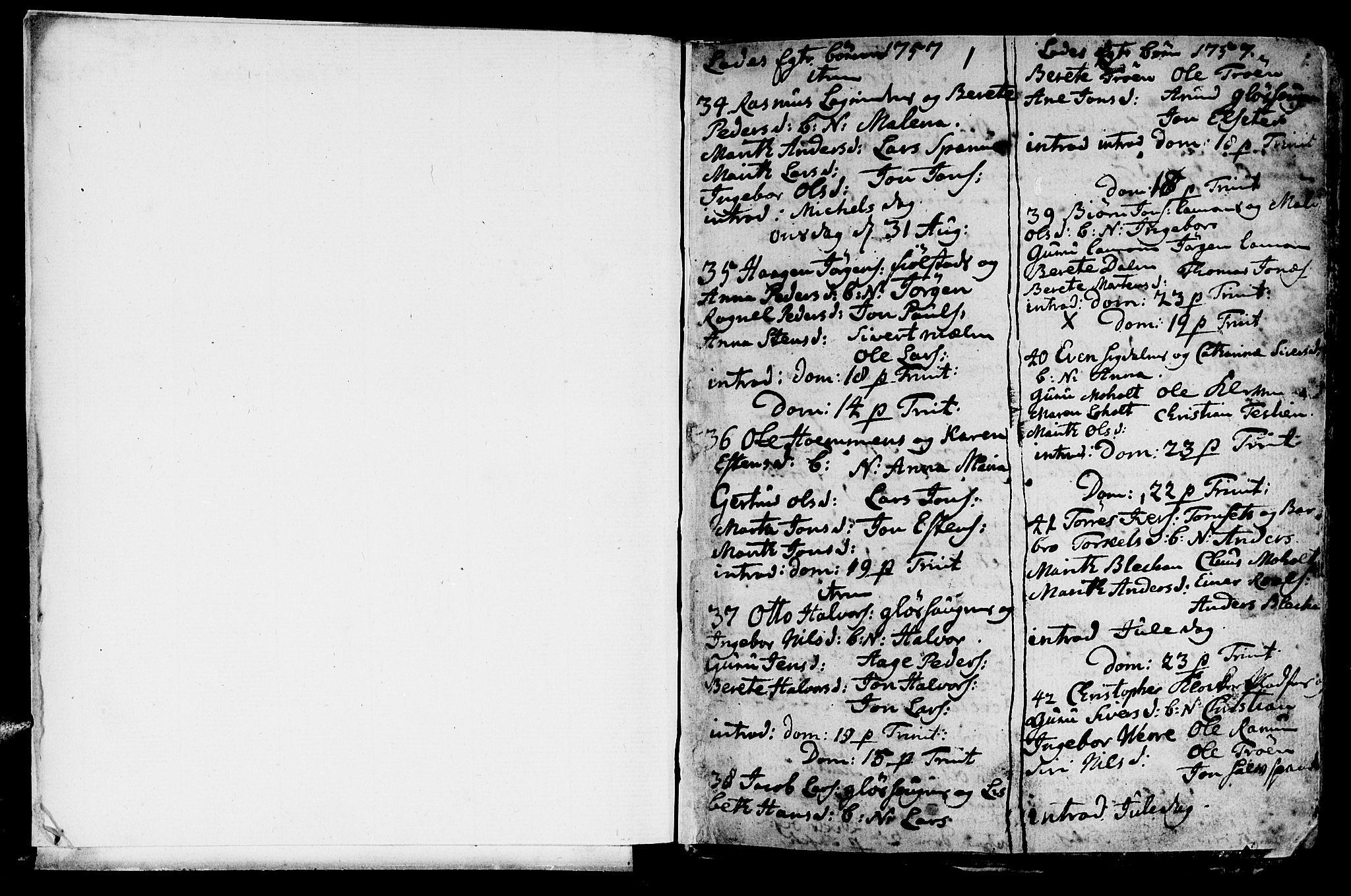 SAT, Ministerialprotokoller, klokkerbøker og fødselsregistre - Sør-Trøndelag, 606/L0305: Klokkerbok nr. 606C01, 1757-1819, s. 1