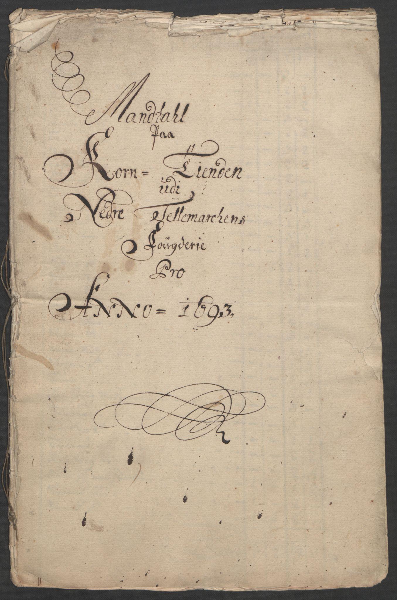RA, Rentekammeret inntil 1814, Reviderte regnskaper, Fogderegnskap, R35/L2091: Fogderegnskap Øvre og Nedre Telemark, 1690-1693, s. 251