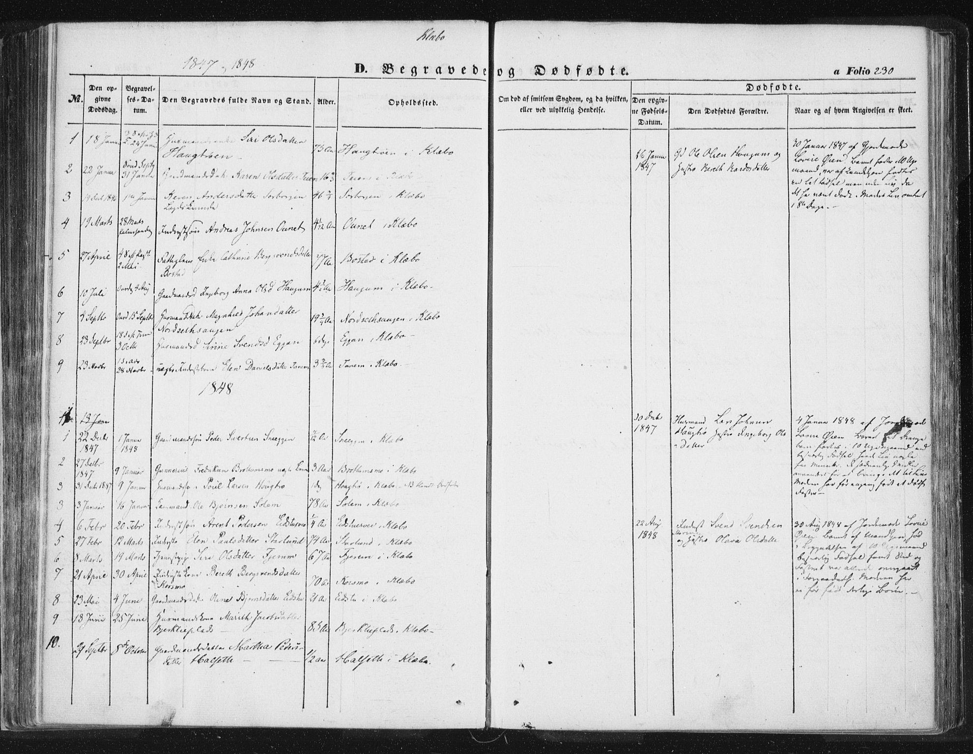 SAT, Ministerialprotokoller, klokkerbøker og fødselsregistre - Sør-Trøndelag, 618/L0441: Ministerialbok nr. 618A05, 1843-1862, s. 230
