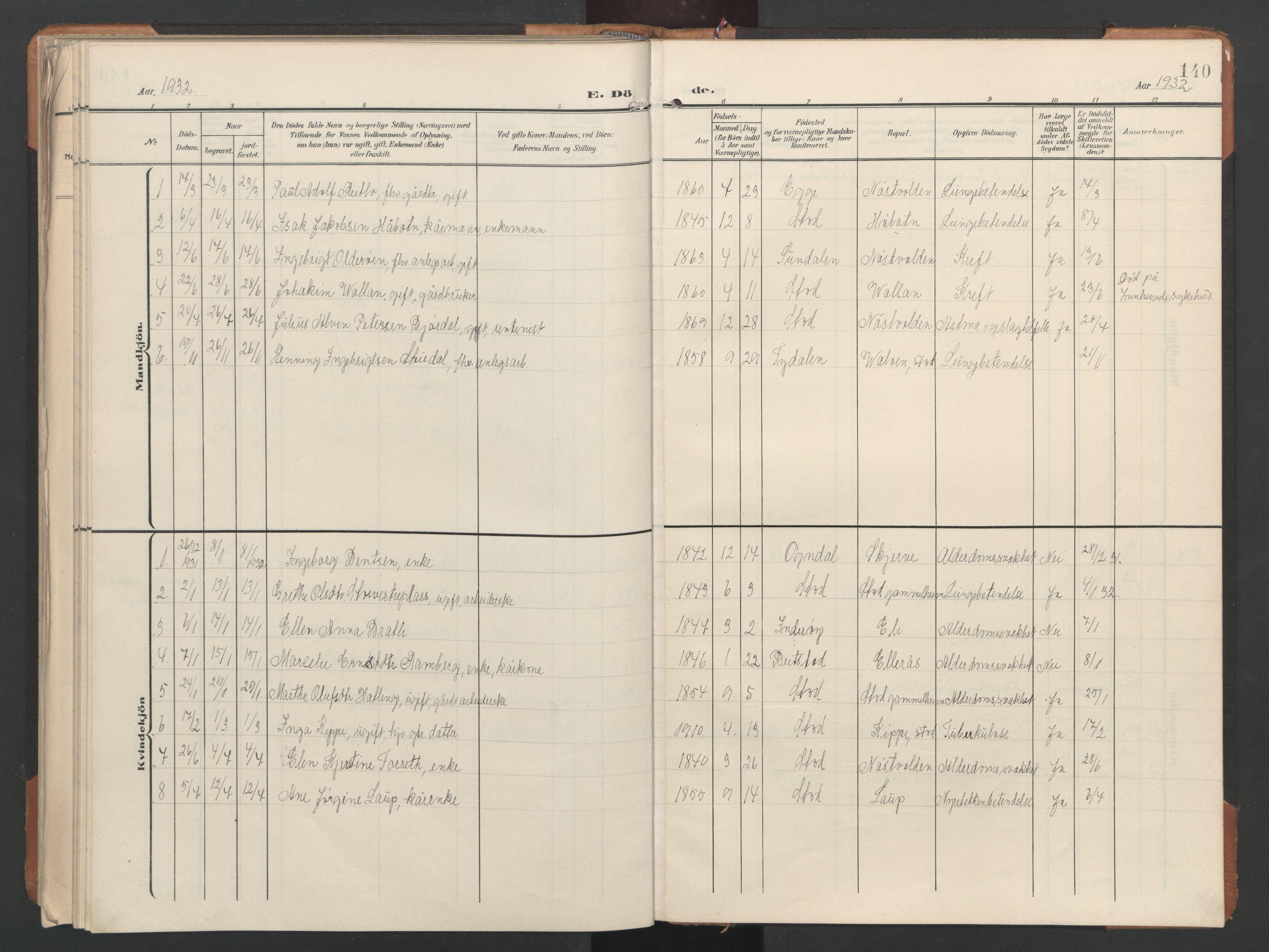 SAT, Ministerialprotokoller, klokkerbøker og fødselsregistre - Nord-Trøndelag, 746/L0455: Klokkerbok nr. 746C01, 1908-1933, s. 140