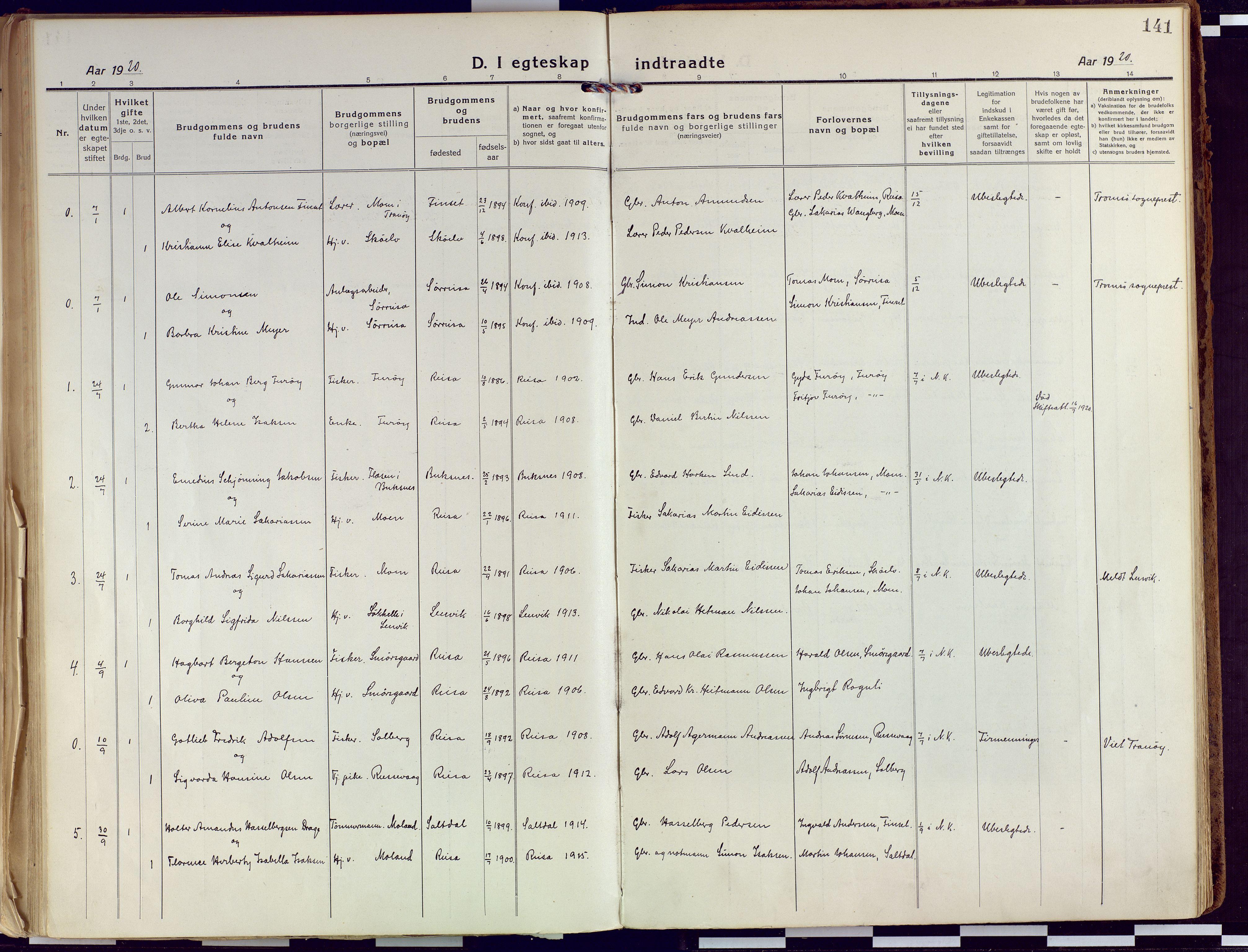 SATØ, Tranøy sokneprestkontor, I/Ia/Iaa/L0015kirke: Ministerialbok nr. 15, 1919-1928, s. 141