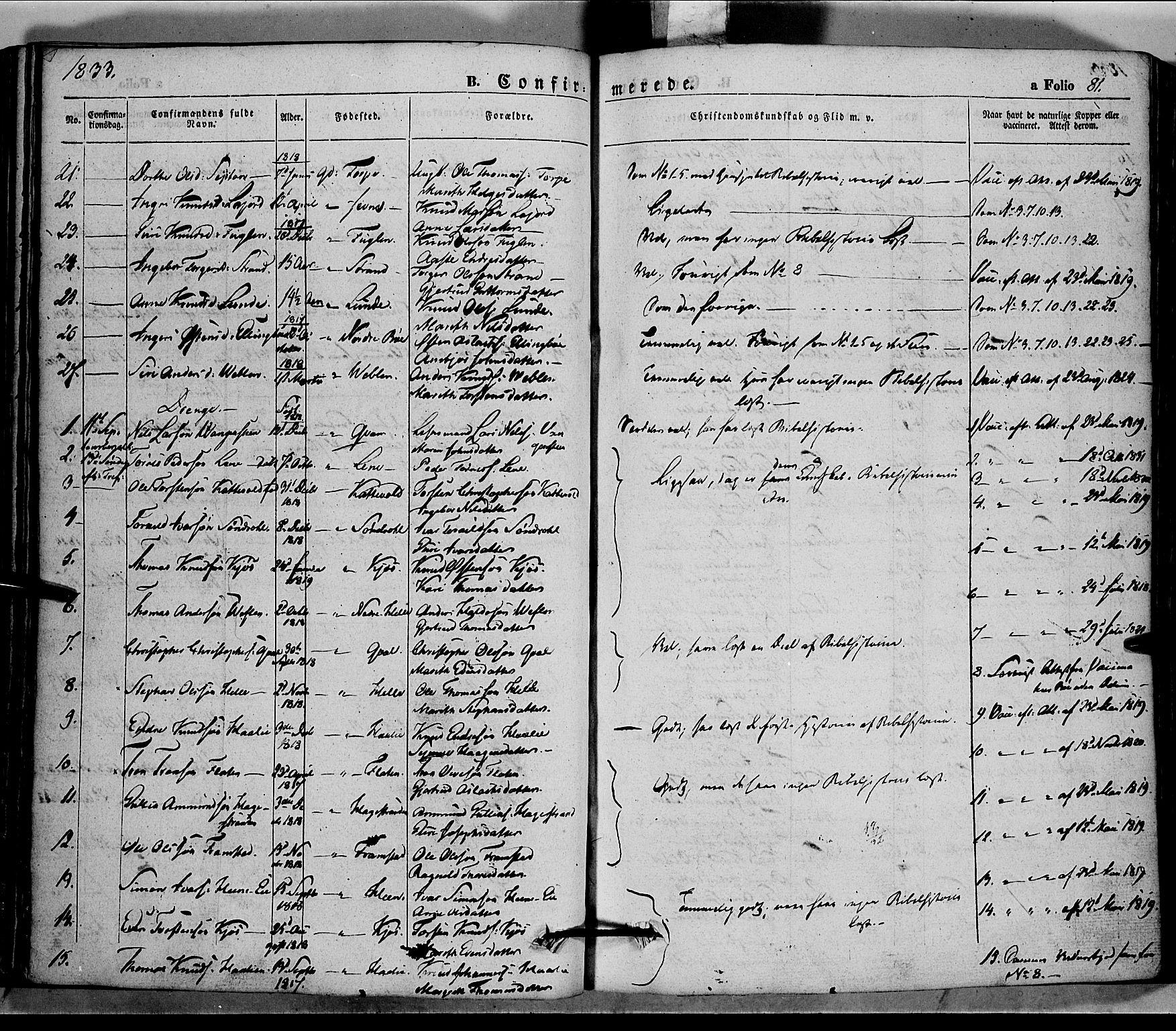 SAH, Vang prestekontor, Valdres, Ministerialbok nr. 5, 1831-1845, s. 81