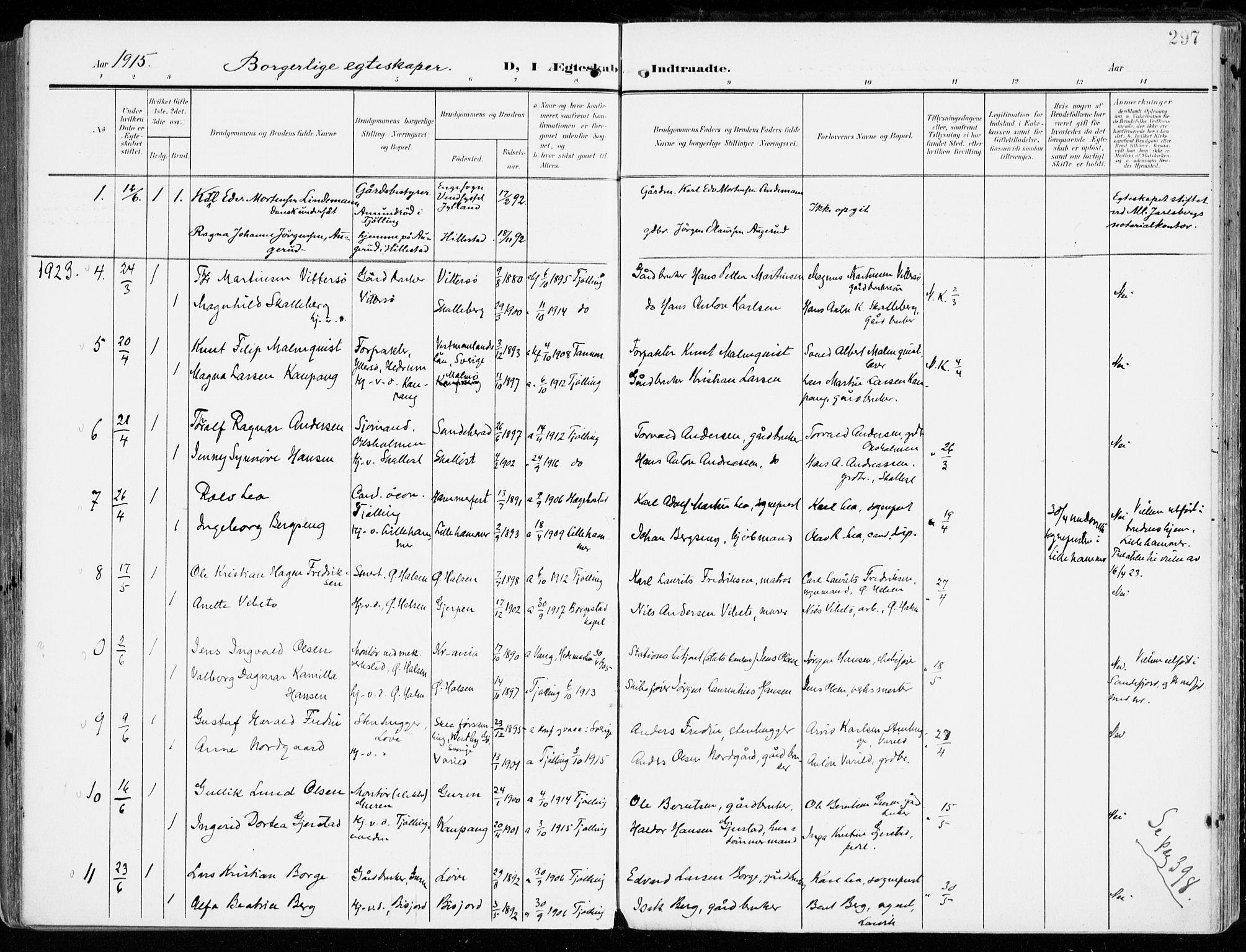 SAKO, Tjølling kirkebøker, F/Fa/L0010: Ministerialbok nr. 10, 1906-1923, s. 297