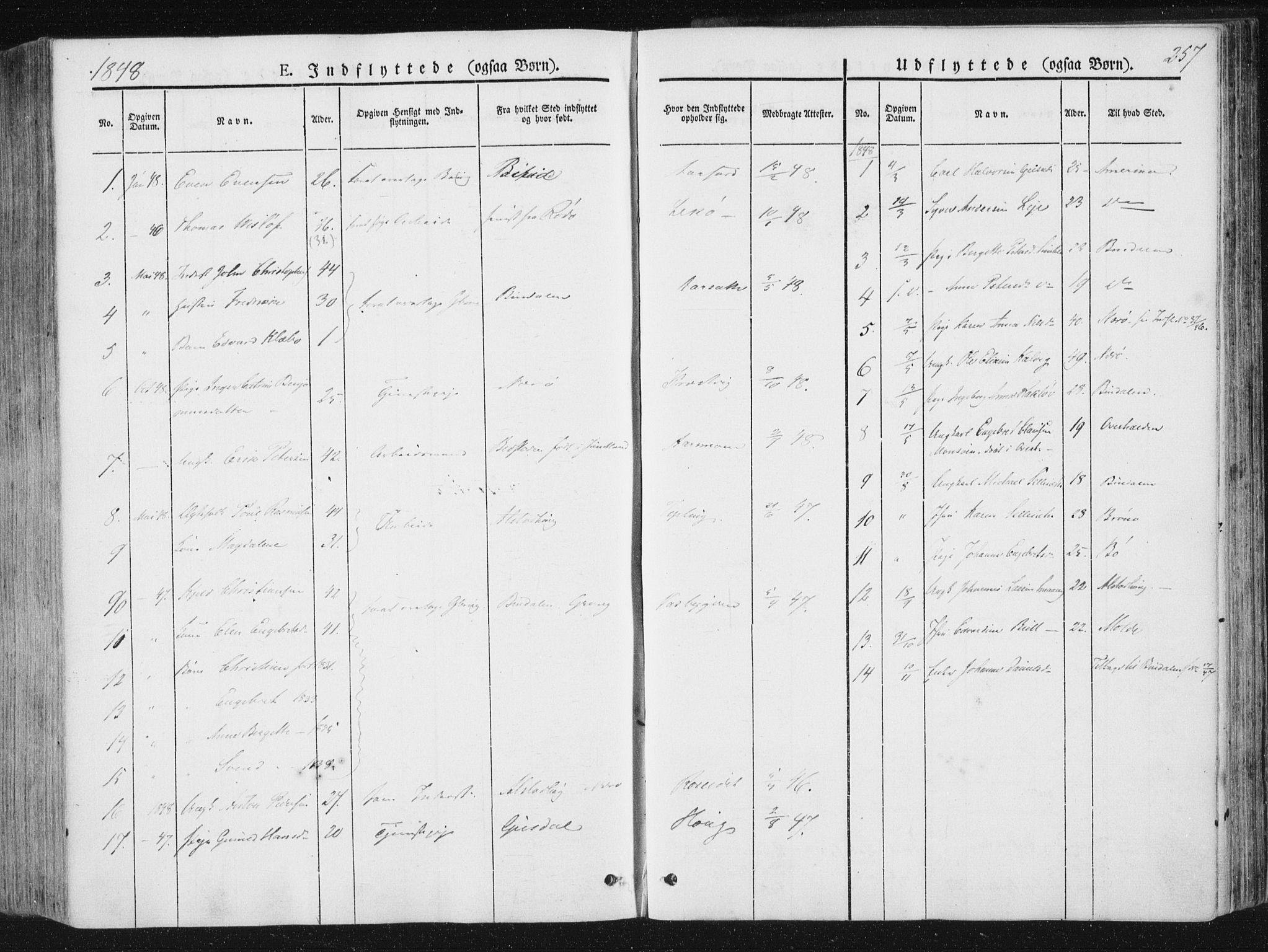 SAT, Ministerialprotokoller, klokkerbøker og fødselsregistre - Nord-Trøndelag, 780/L0640: Ministerialbok nr. 780A05, 1845-1856, s. 257
