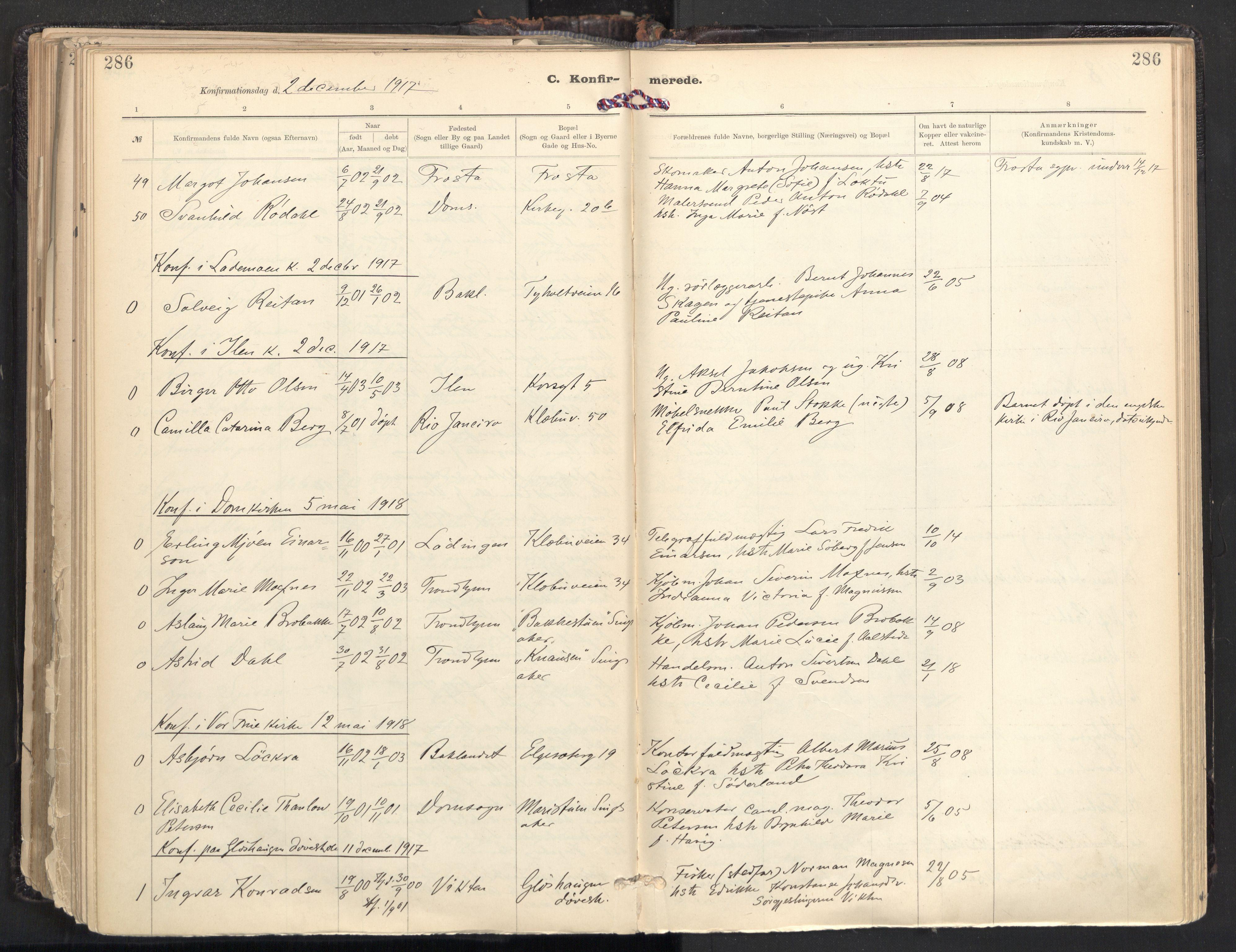 SAT, Ministerialprotokoller, klokkerbøker og fødselsregistre - Sør-Trøndelag, 604/L0205: Ministerialbok nr. 604A25, 1917-1932, s. 286