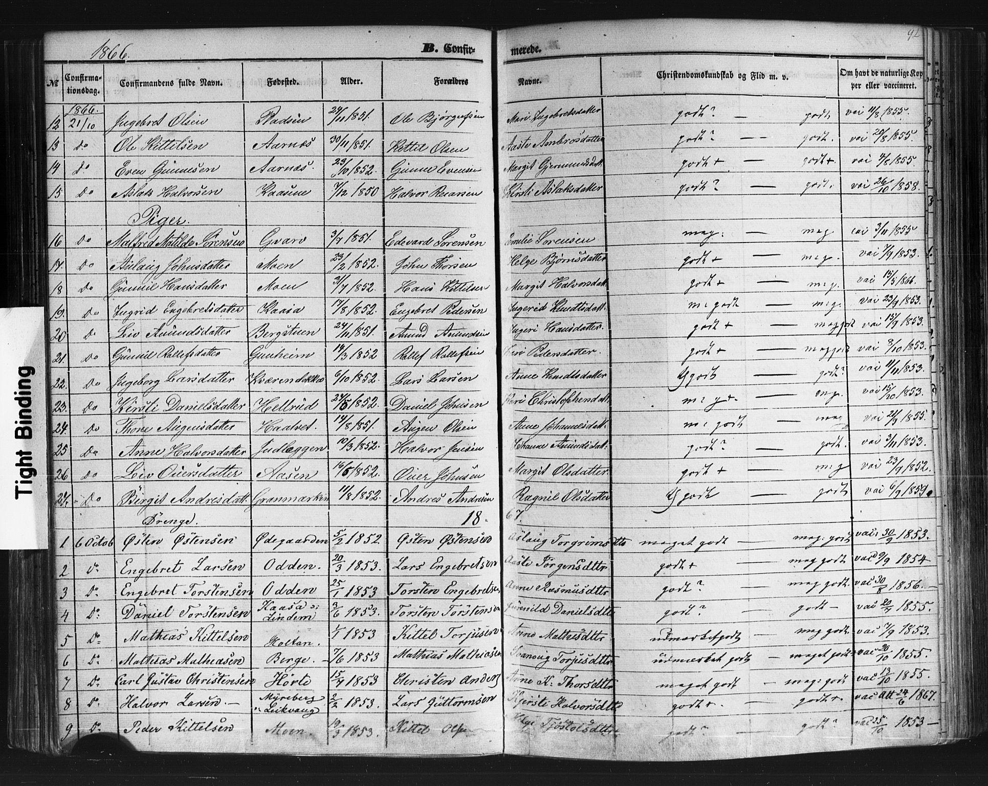 SAKO, Sauherad kirkebøker, F/Fb/L0001: Ministerialbok nr. II 1, 1851-1877, s. 92