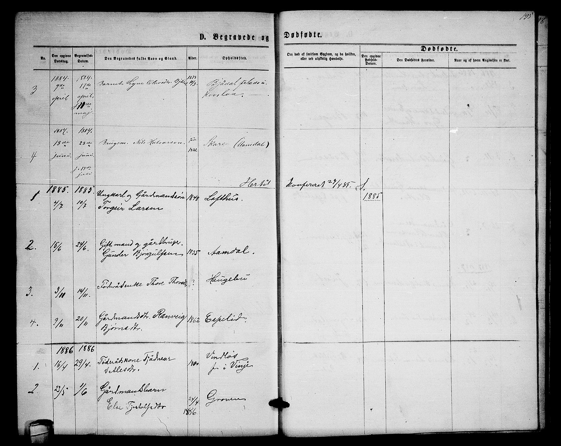 SAKO, Lårdal kirkebøker, G/Gb/L0002: Klokkerbok nr. II 2, 1865-1888, s. 195