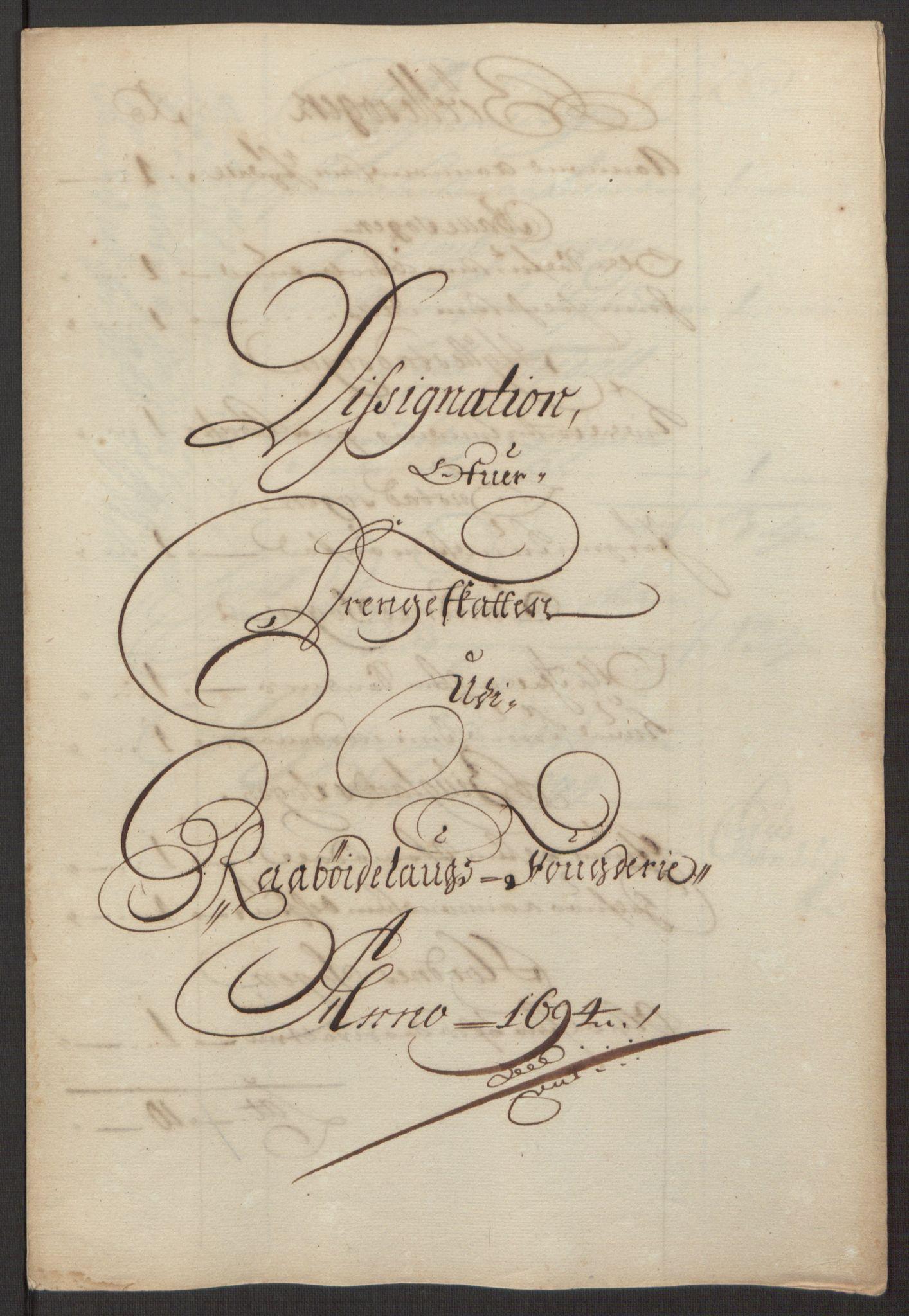 RA, Rentekammeret inntil 1814, Reviderte regnskaper, Fogderegnskap, R40/L2444: Fogderegnskap Råbyggelag, 1693-1696, s. 113