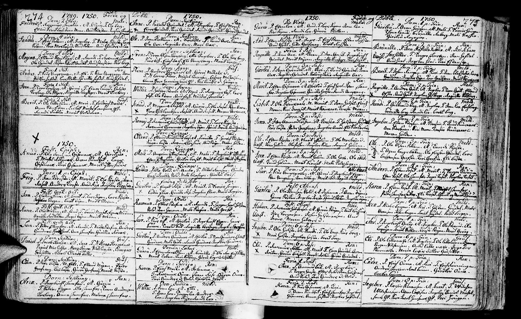 SAT, Ministerialprotokoller, klokkerbøker og fødselsregistre - Sør-Trøndelag, 672/L0850: Ministerialbok nr. 672A03, 1725-1751, s. 274-275