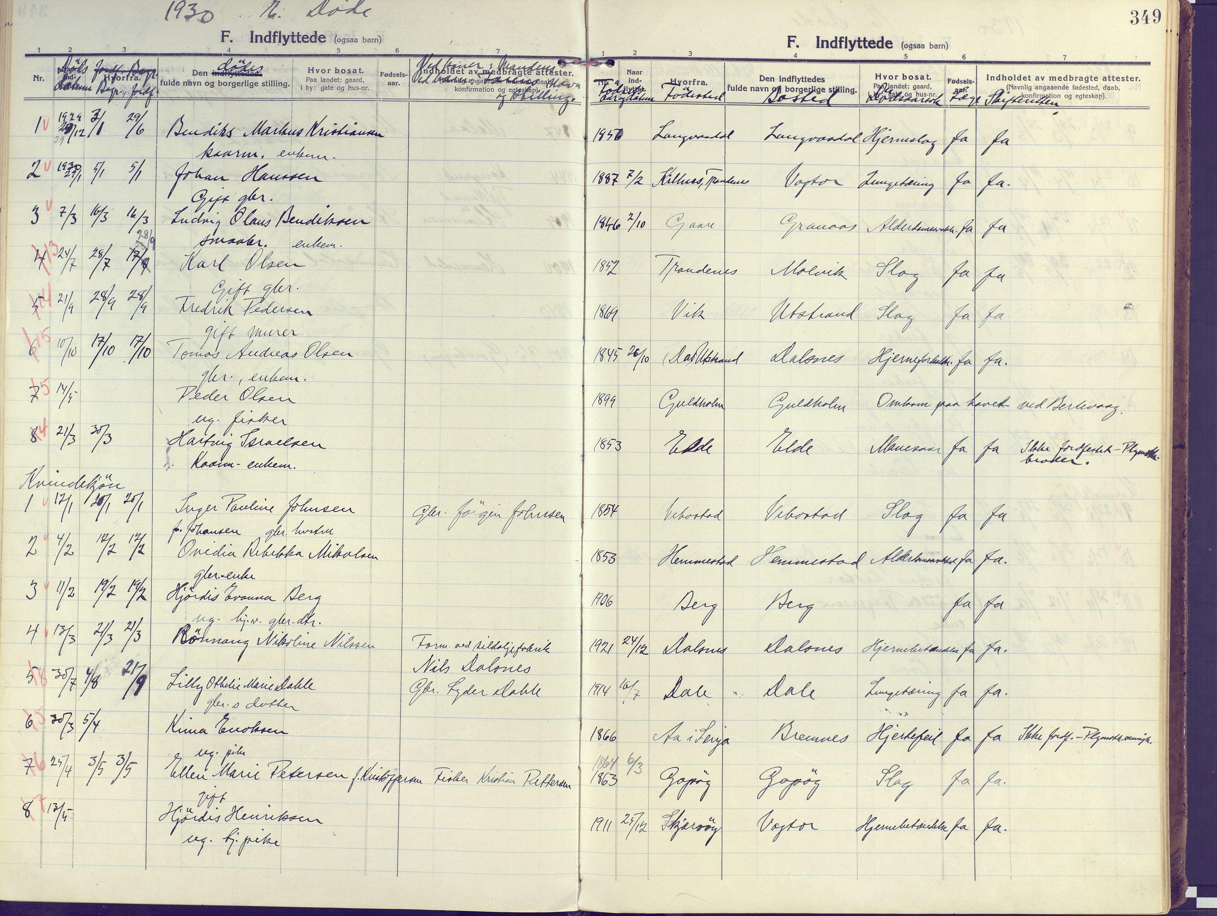 SATØ, Kvæfjord sokneprestkontor, G/Ga/Gaa/L0007kirke: Ministerialbok nr. 7, 1915-1931, s. 349