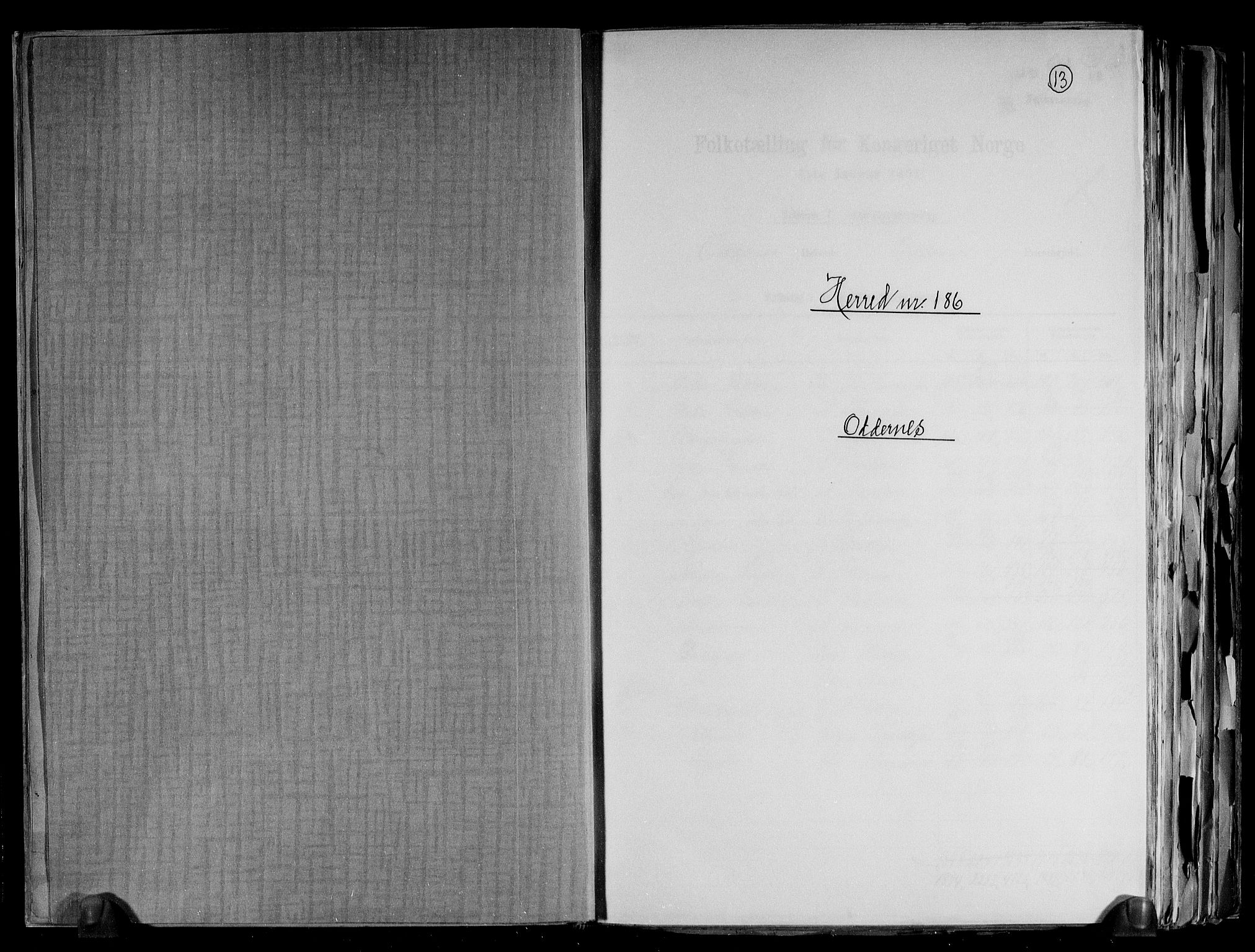 RA, Folketelling 1891 for 1012 Oddernes herred, 1891, s. 1