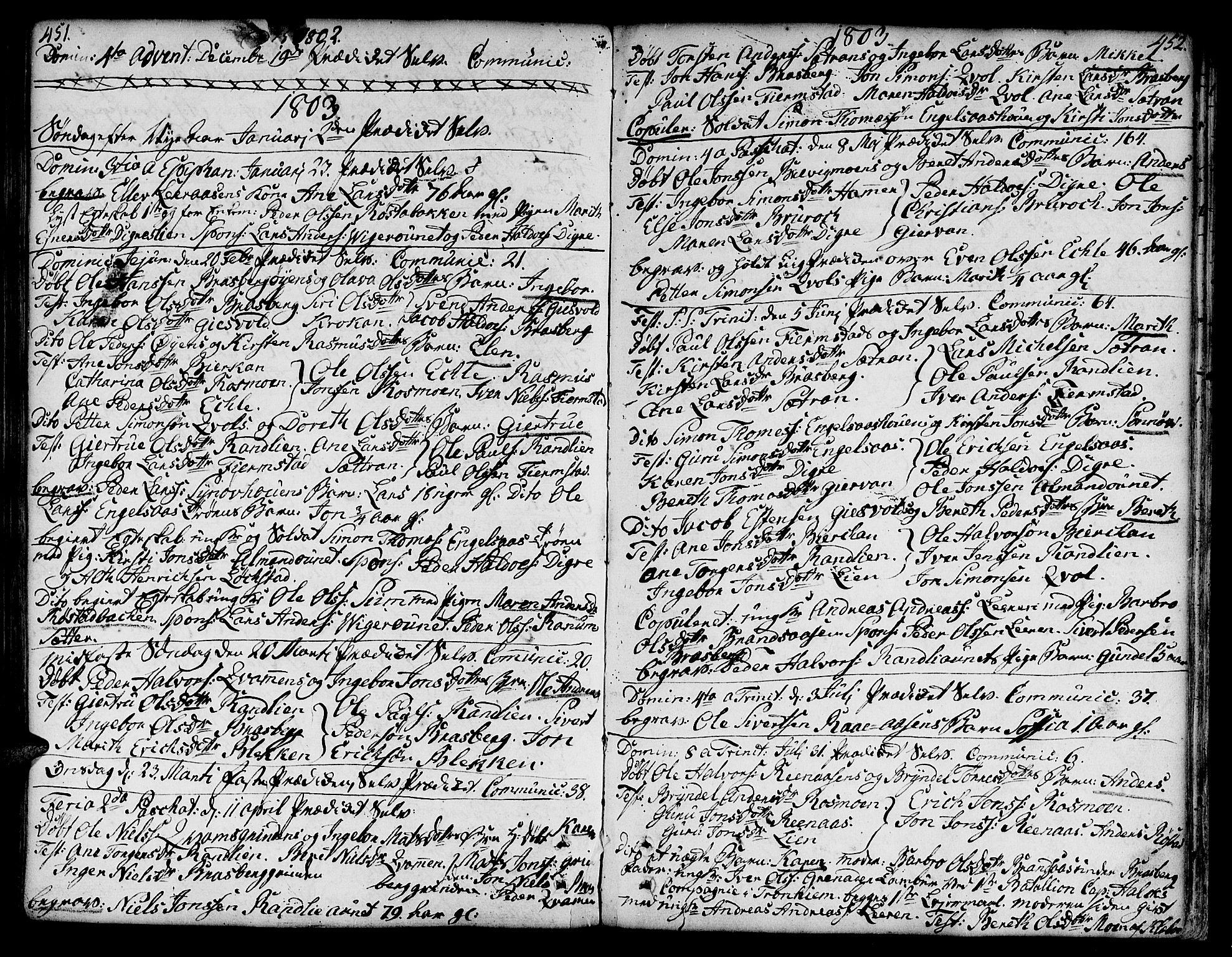 SAT, Ministerialprotokoller, klokkerbøker og fødselsregistre - Sør-Trøndelag, 606/L0282: Ministerialbok nr. 606A02 /3, 1781-1817, s. 451-452