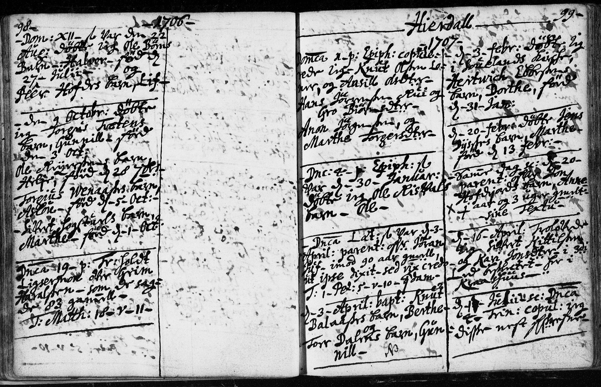 SAKO, Hjartdal kirkebøker, F/Fa/L0001: Ministerialbok nr. I 1, 1685-1714, s. 98-99