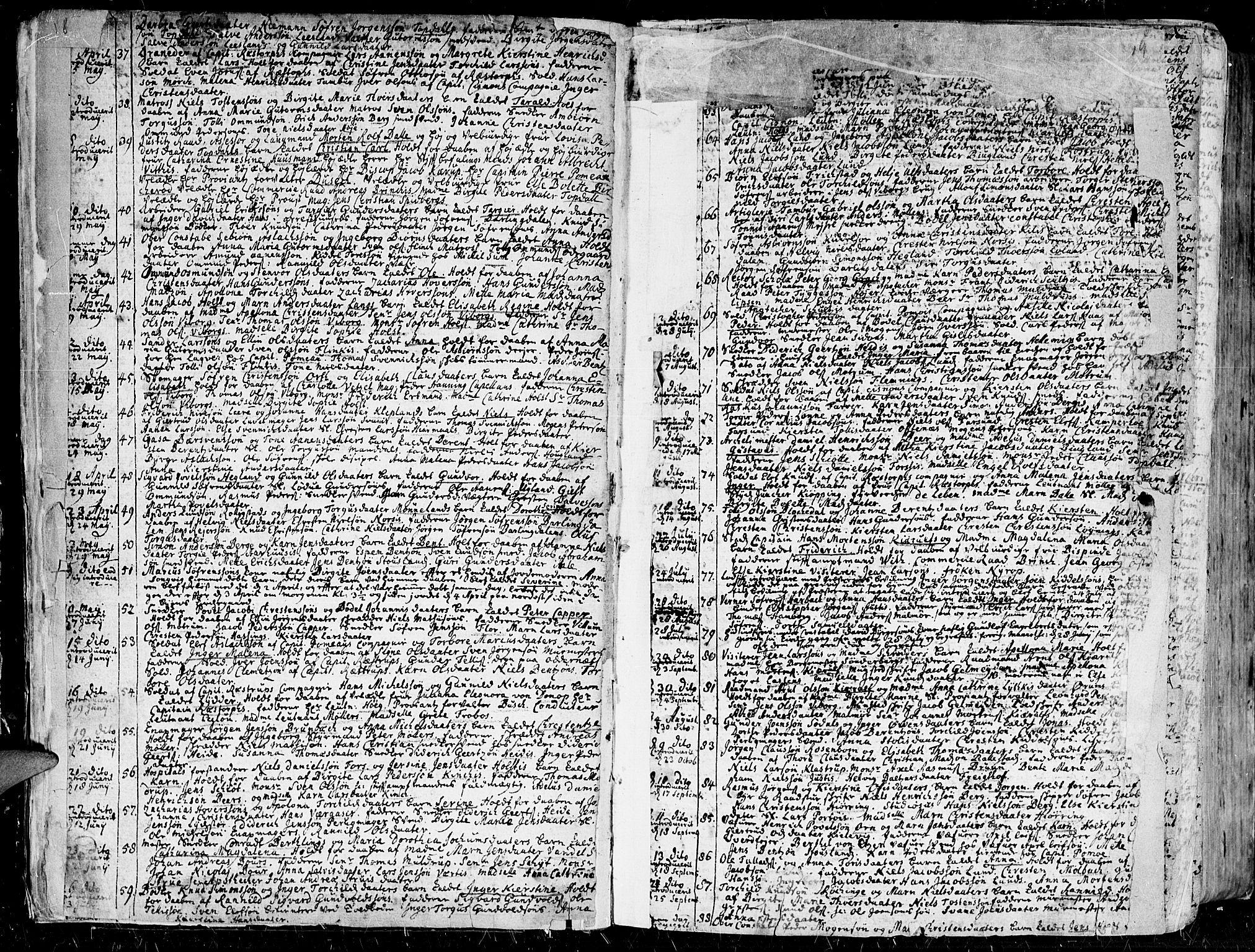 SAK, Kristiansand domprosti, F/Fa/L0001: Ministerialbok nr. A 1, 1734-1793, s. 18-19