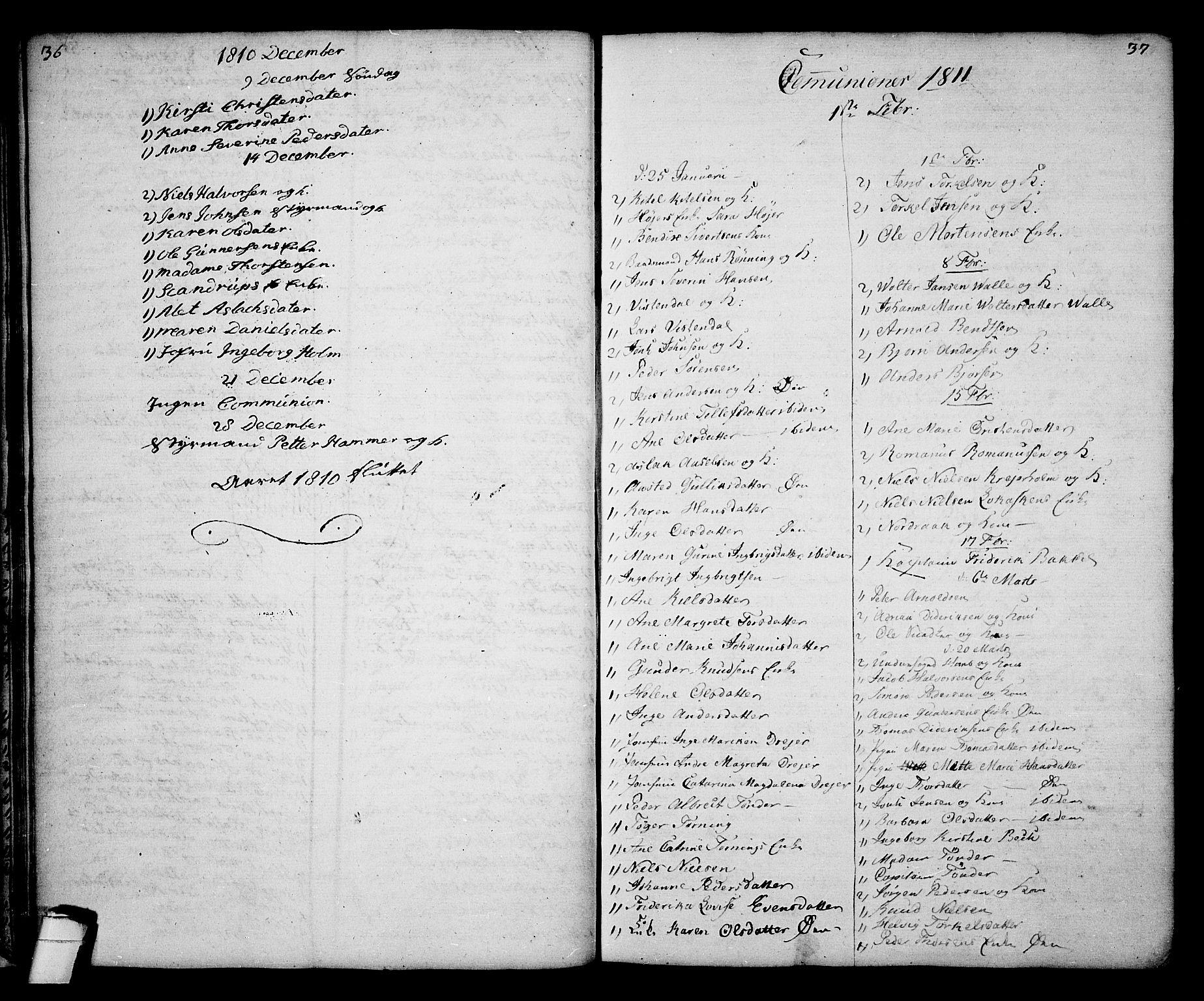 SAKO, Kragerø kirkebøker, G/Ga/L0001: Klokkerbok nr. 1 /1, 1806-1811, s. 36-37