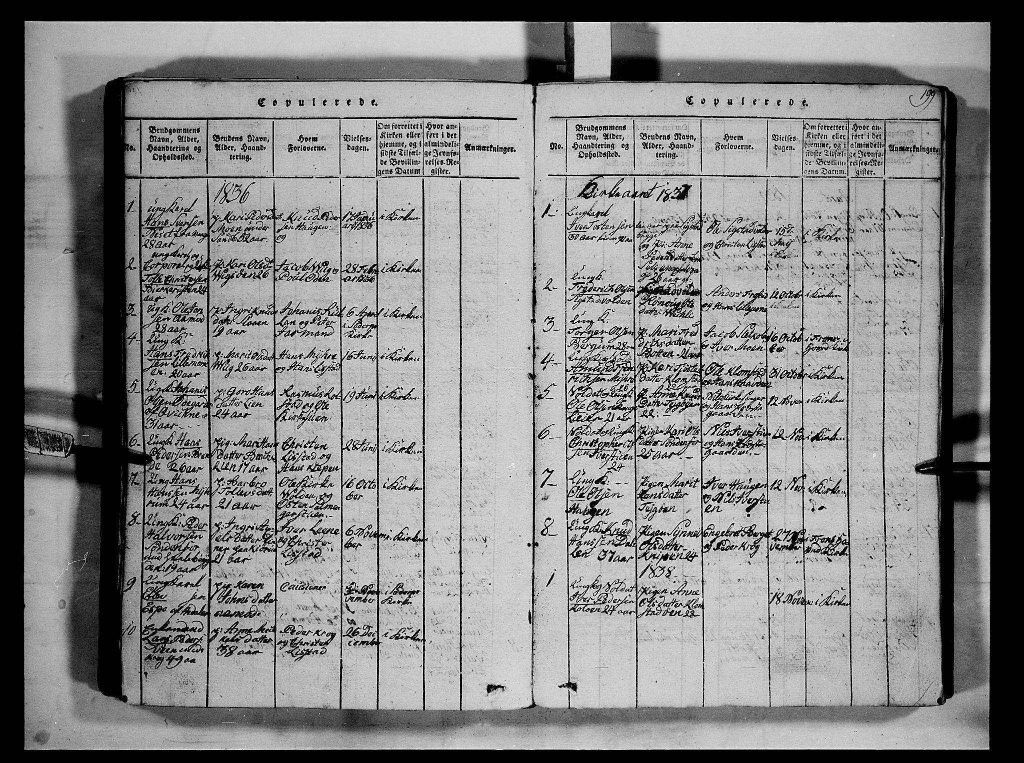 SAH, Fron prestekontor, H/Ha/Hab/L0002: Klokkerbok nr. 2, 1816-1850, s. 199