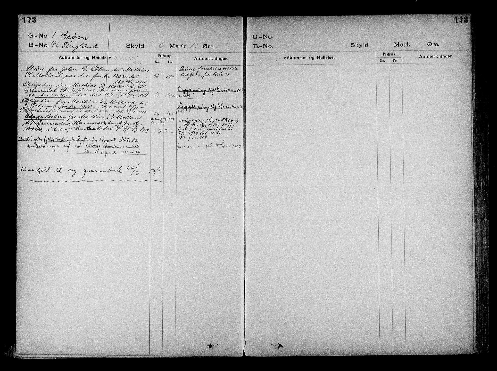 SAK, Vestre Nedenes/Sand sorenskriveri, G/Ga/L0022: Panteregister nr. 15, 1899-1957, s. 173