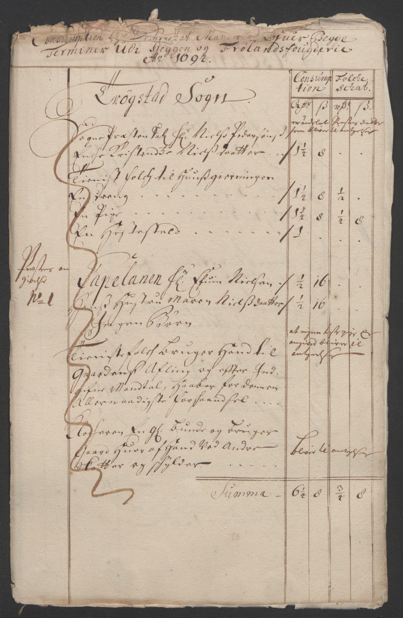 RA, Rentekammeret inntil 1814, Reviderte regnskaper, Fogderegnskap, R07/L0284: Fogderegnskap Rakkestad, Heggen og Frøland, 1694, s. 241