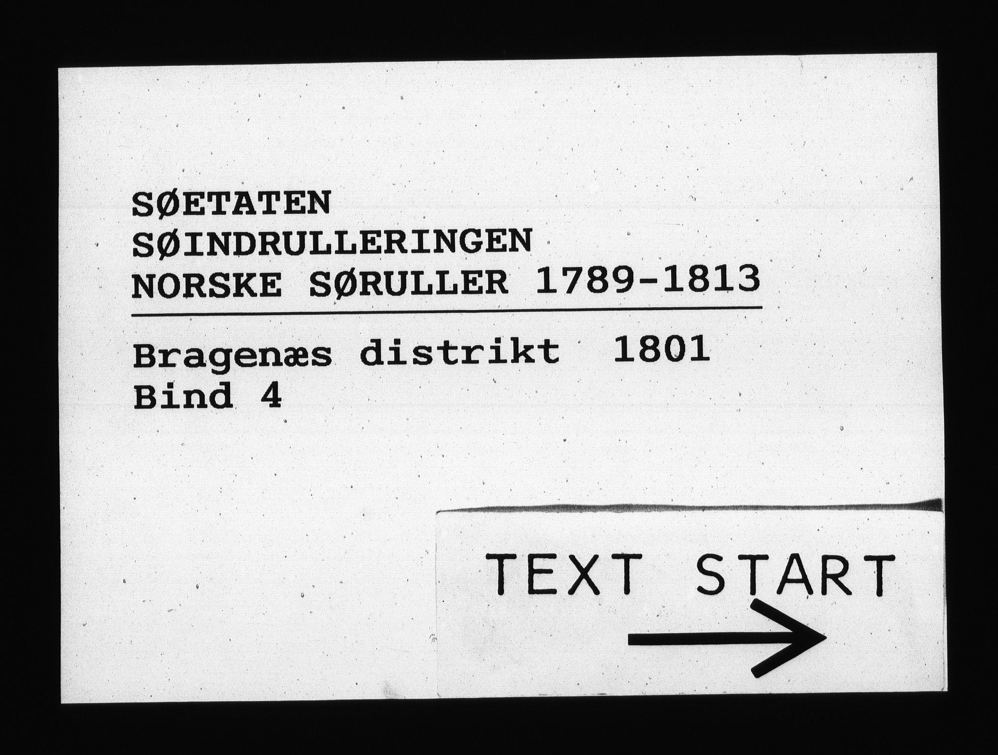 RA, Sjøetaten, F/L0137: Bragernes distrikt, bind 4, 1801