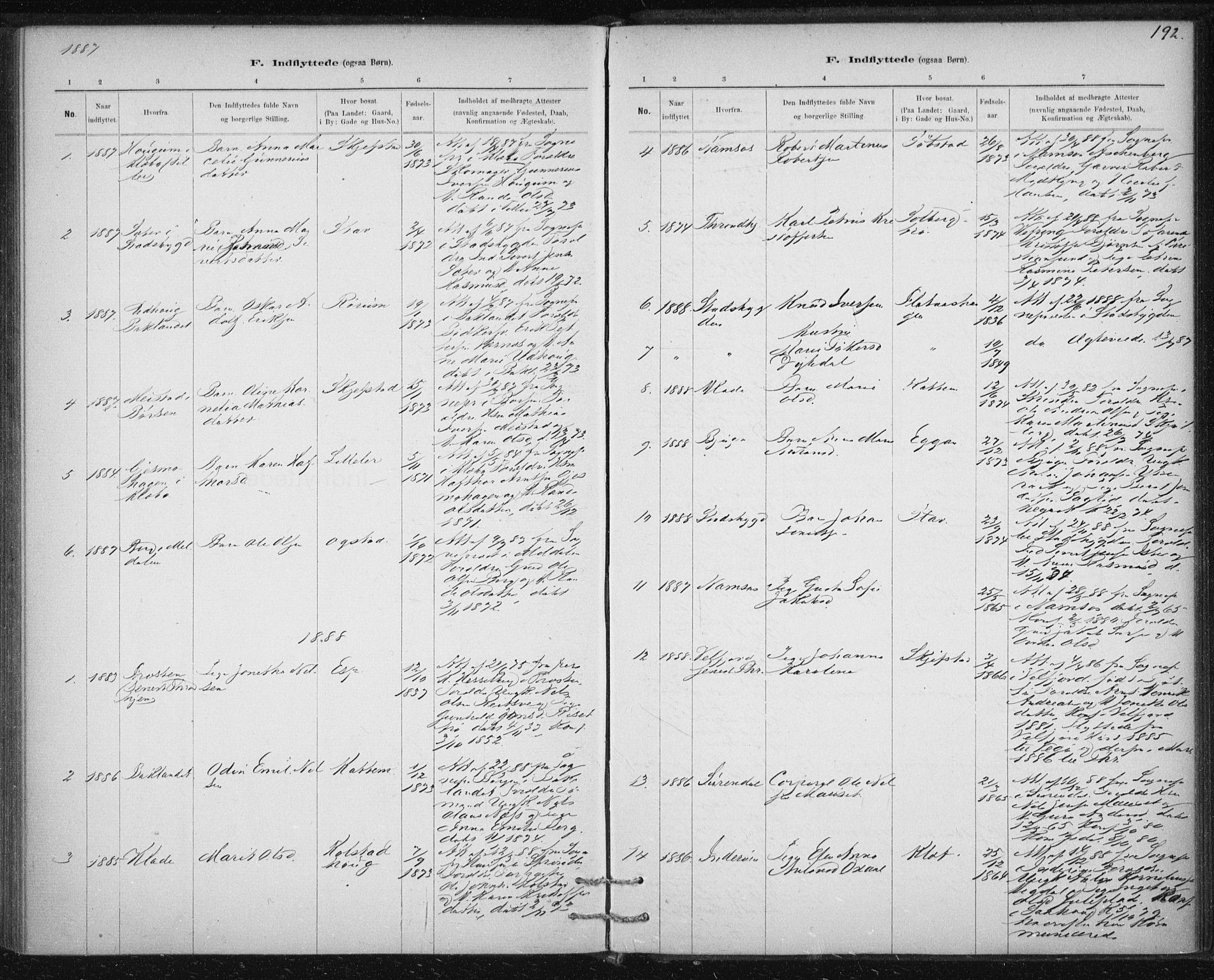 SAT, Ministerialprotokoller, klokkerbøker og fødselsregistre - Sør-Trøndelag, 613/L0392: Ministerialbok nr. 613A01, 1887-1906, s. 192