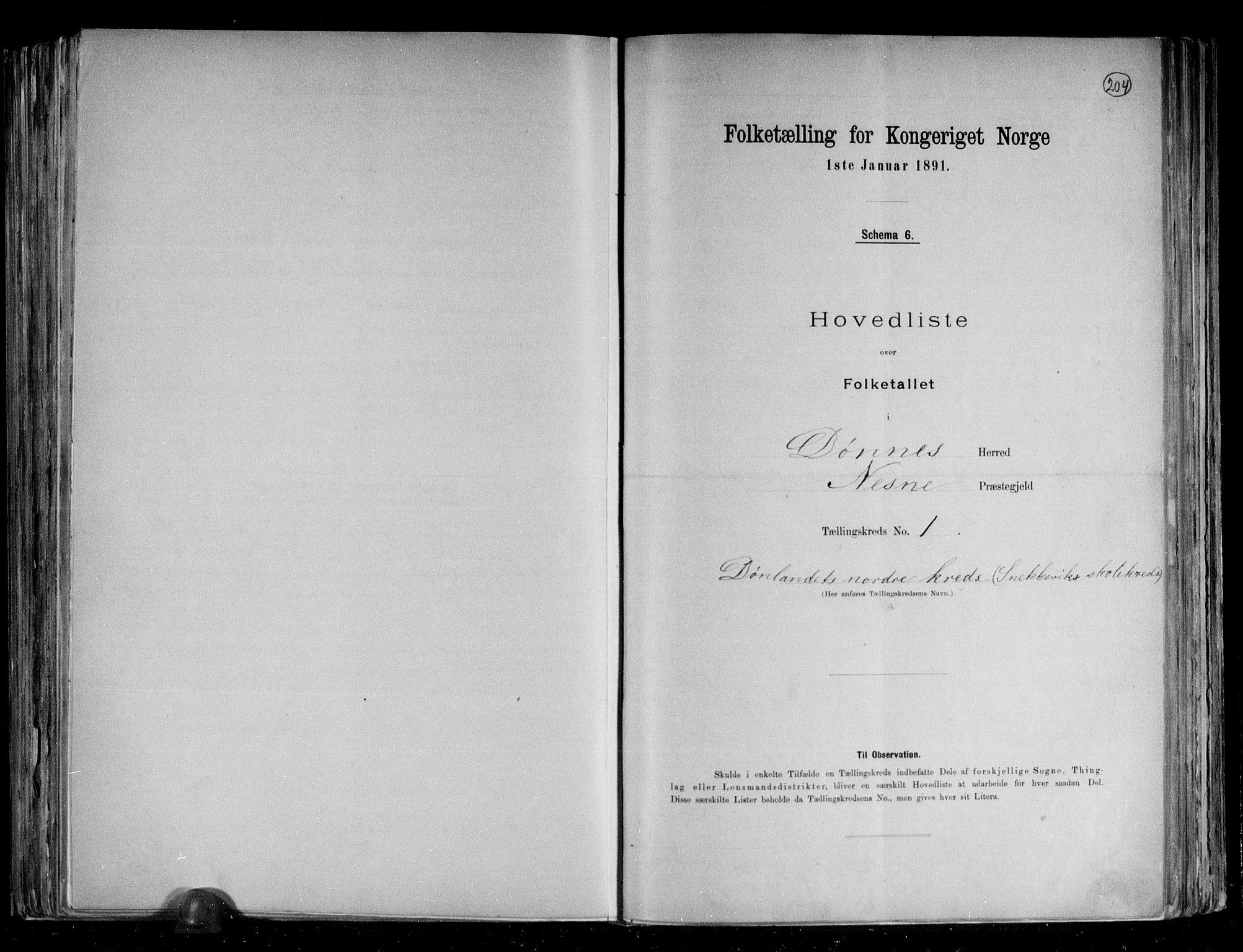 RA, Folketelling 1891 for 1827 Dønnes herred, 1891, s. 6