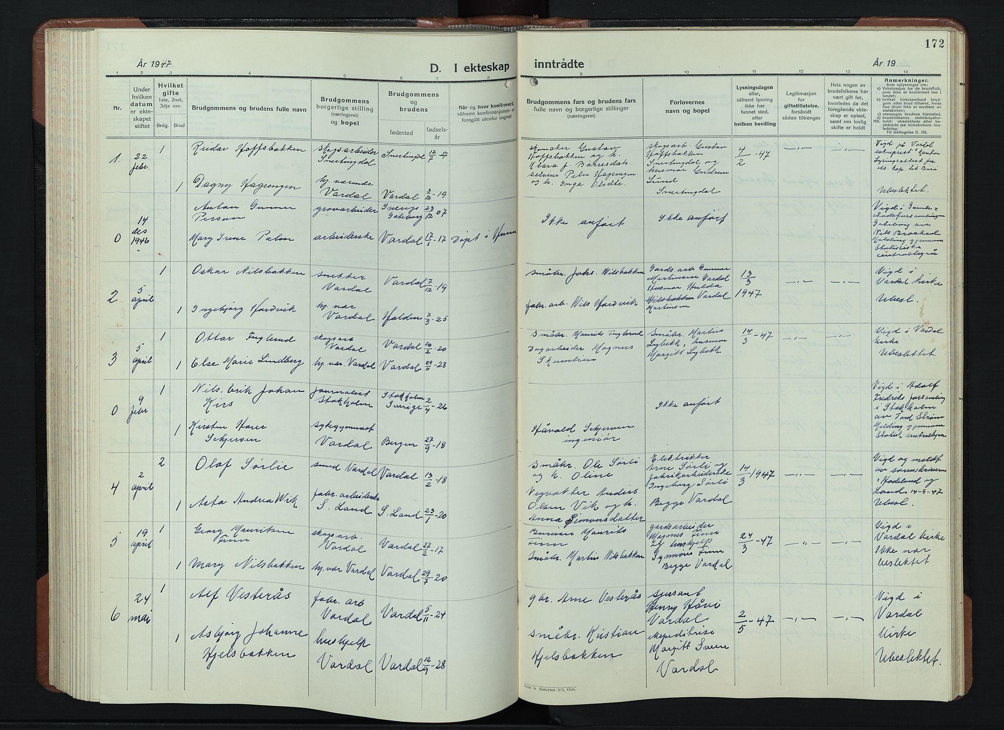 SAH, Vardal prestekontor, H/Ha/Hab/L0018: Klokkerbok nr. 18, 1931-1951, s. 172