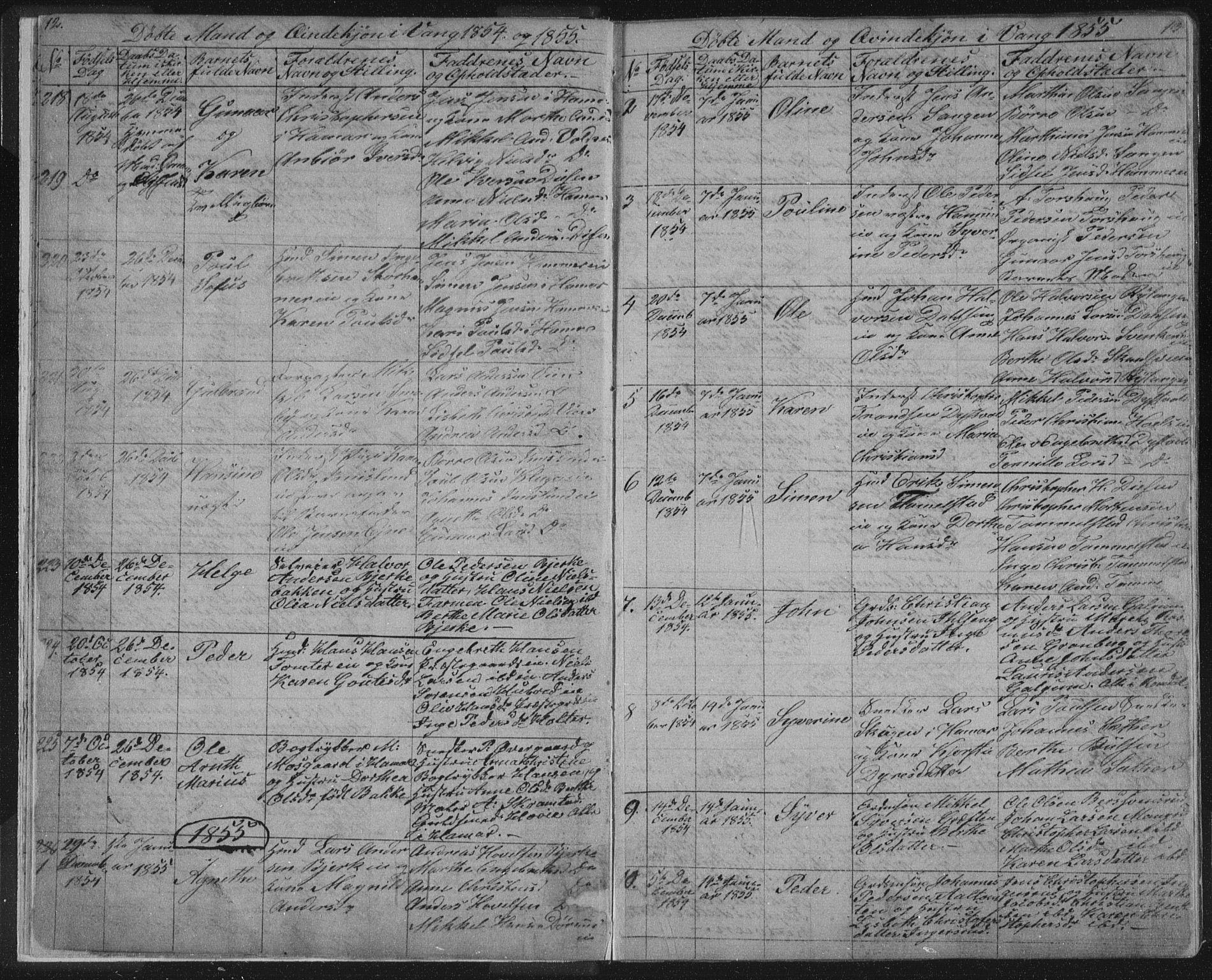 SAH, Vang prestekontor, Hedmark, H/Ha/Hab/L0010A: Klokkerbok nr. 10a, 1854-1896, s. 12-13