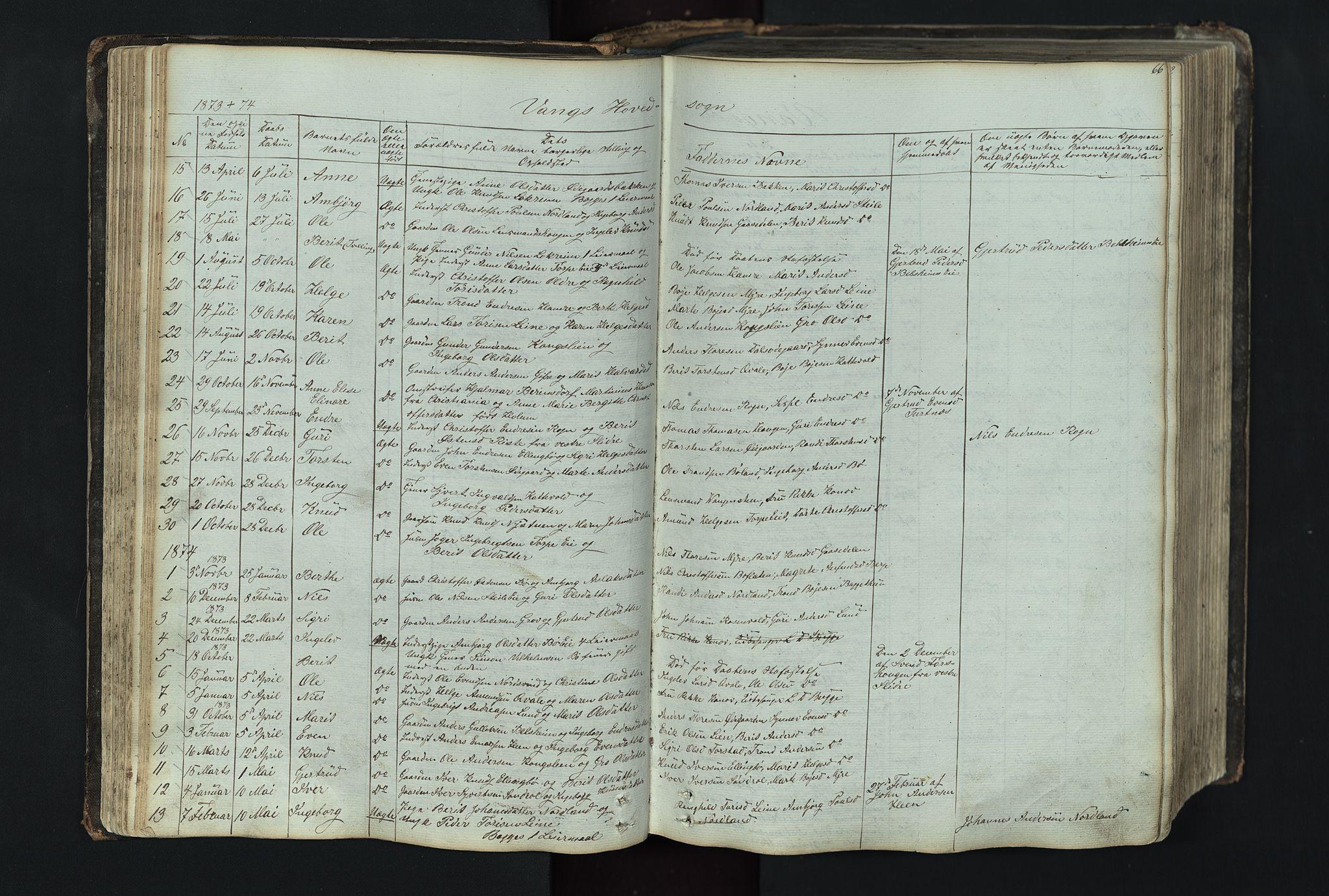 SAH, Vang prestekontor, Valdres, Klokkerbok nr. 4, 1835-1892, s. 66