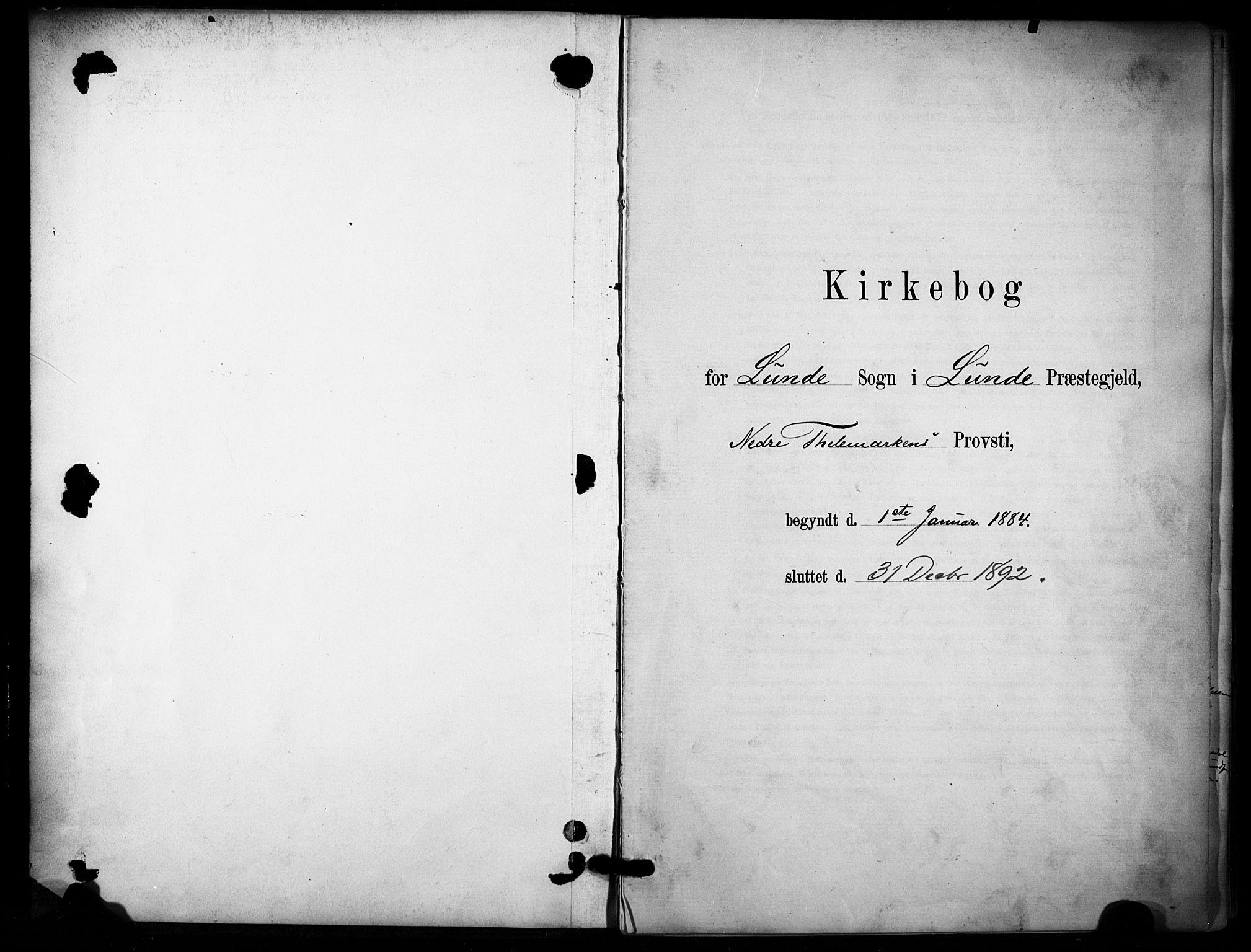 SAKO, Lunde kirkebøker, F/Fa/L0002: Ministerialbok nr. I 2, 1884-1892