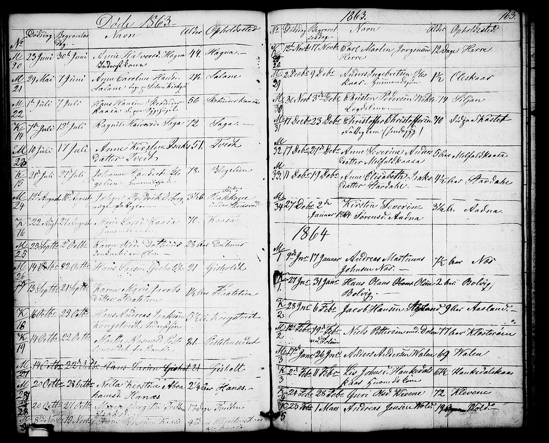 SAKO, Solum kirkebøker, G/Gb/L0002: Klokkerbok nr. II 2, 1859-1879, s. 163