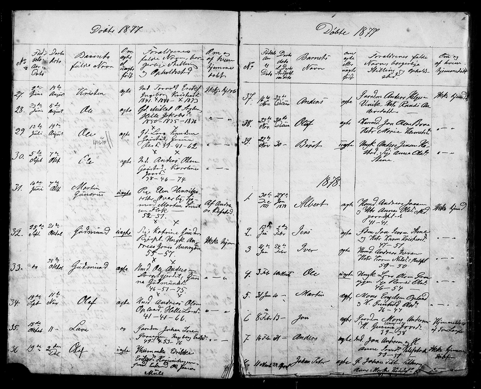 SAT, Ministerialprotokoller, klokkerbøker og fødselsregistre - Sør-Trøndelag, 612/L0387: Klokkerbok nr. 612C03, 1874-1908, s. 11