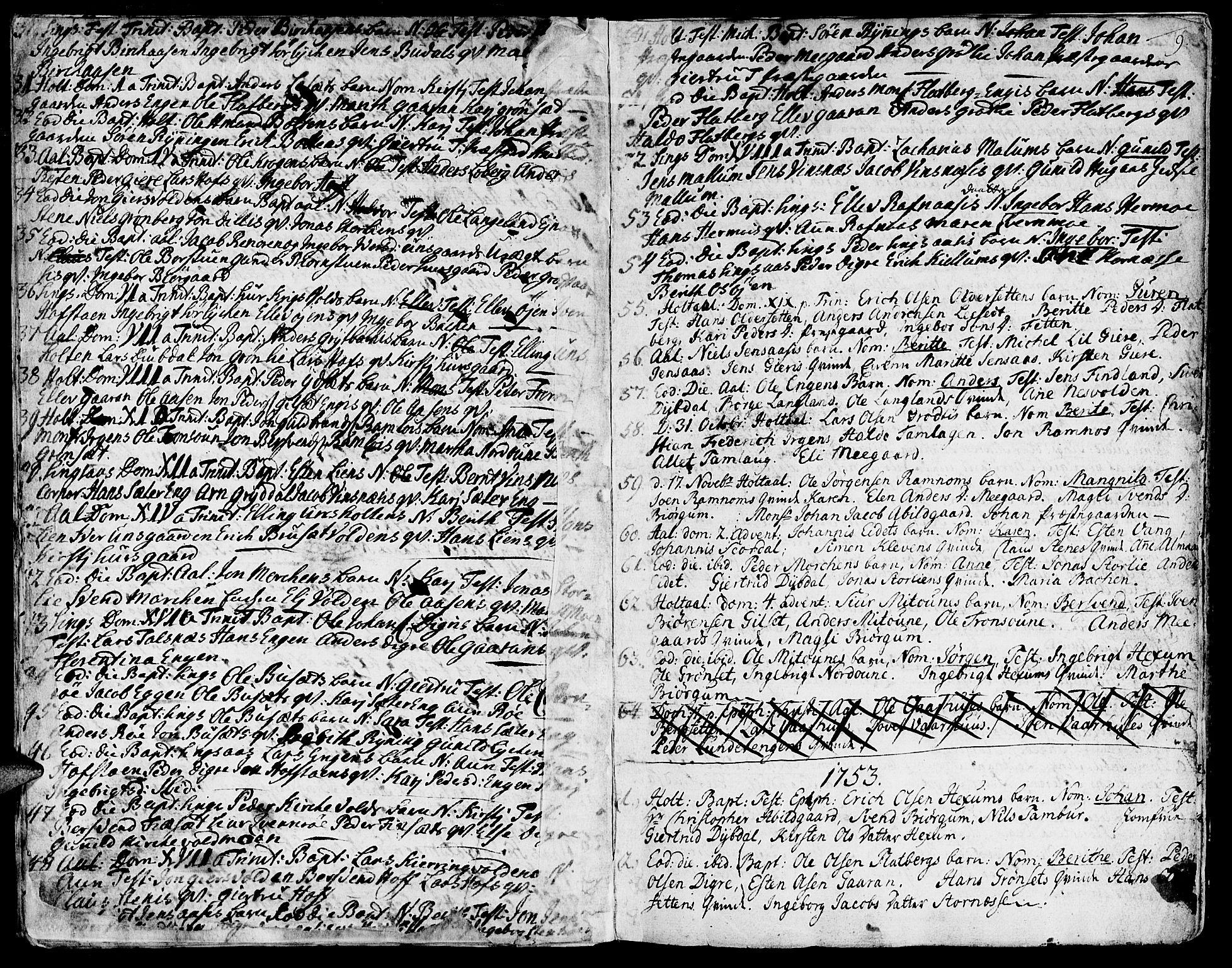 SAT, Ministerialprotokoller, klokkerbøker og fødselsregistre - Sør-Trøndelag, 685/L0952: Ministerialbok nr. 685A01, 1745-1804, s. 9