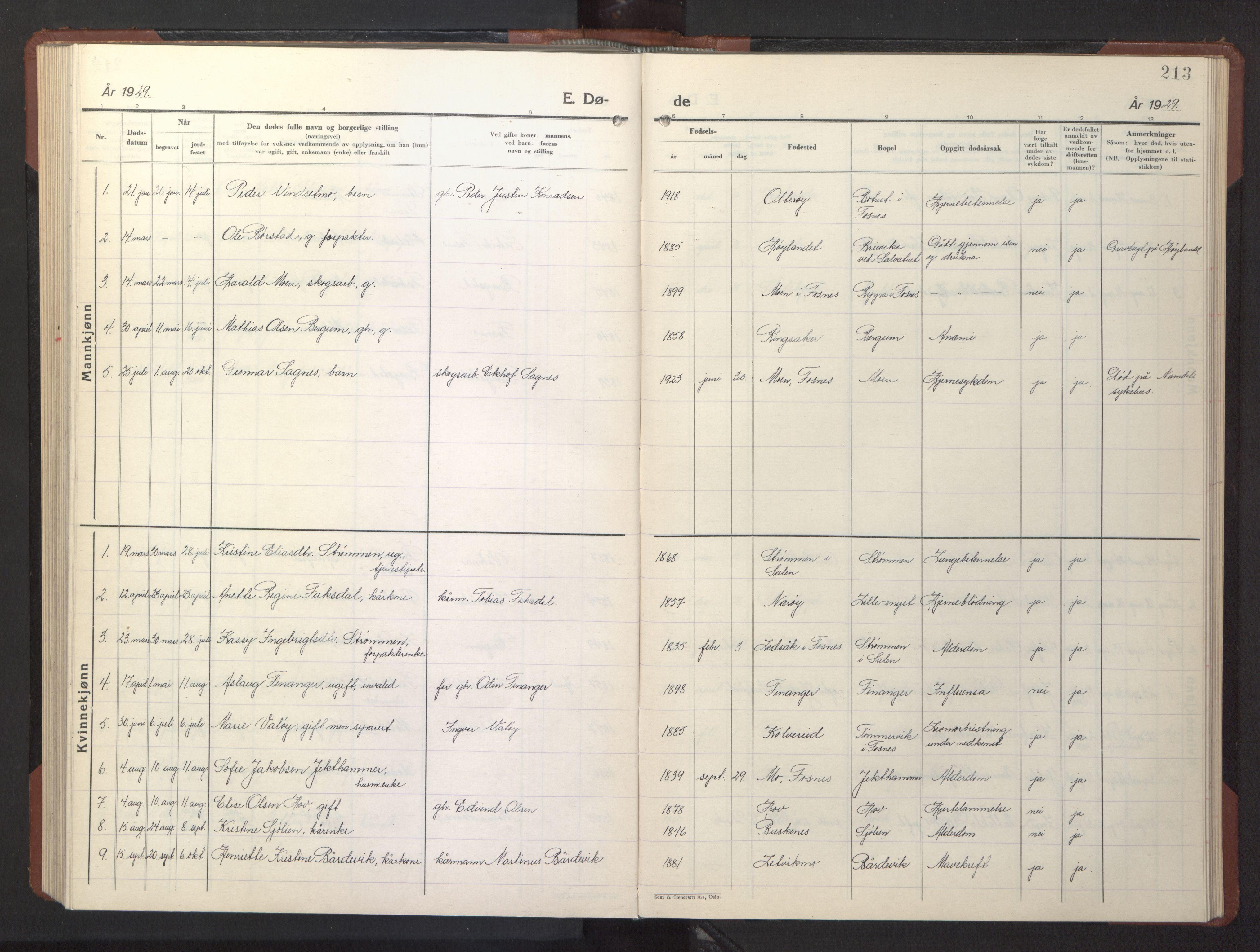 SAT, Ministerialprotokoller, klokkerbøker og fødselsregistre - Nord-Trøndelag, 773/L0625: Klokkerbok nr. 773C01, 1910-1952, s. 213
