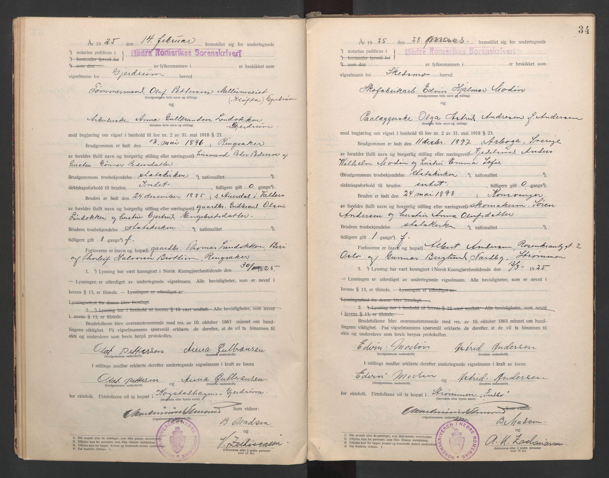 SAO, Nedre Romerike sorenskriveri, L/Lb/L0001: Vigselsbok - borgerlige vielser, 1920-1935, s. 34