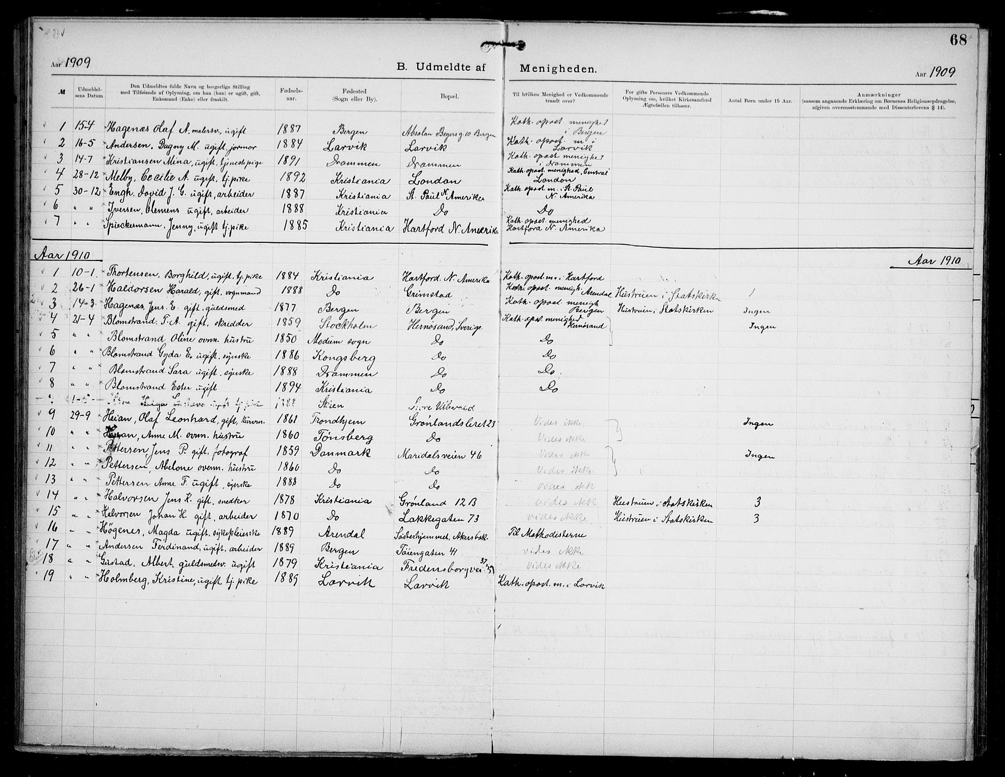 SAO, Den katolsk apostoliske menighet i Oslo , F/Fa/L0002: Dissenterprotokoll nr. 2, 1892-1937, s. 68