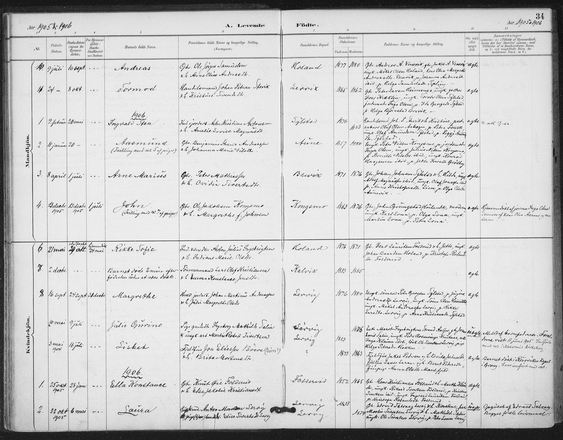 SAT, Ministerialprotokoller, klokkerbøker og fødselsregistre - Nord-Trøndelag, 783/L0660: Ministerialbok nr. 783A02, 1886-1918, s. 34