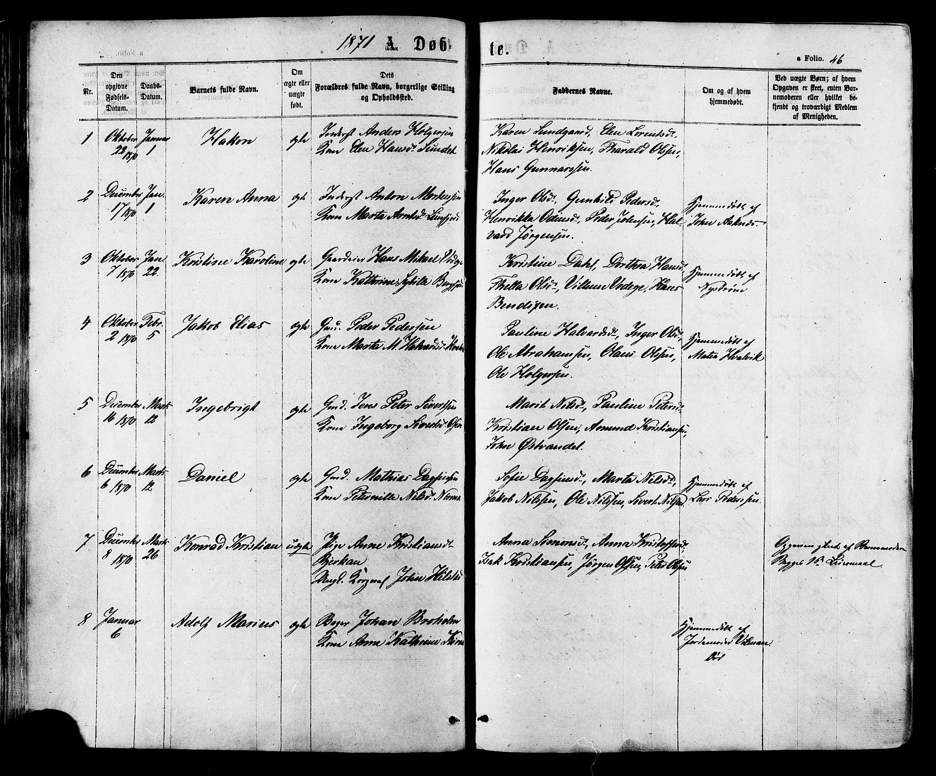 SAT, Ministerialprotokoller, klokkerbøker og fødselsregistre - Sør-Trøndelag, 657/L0706: Ministerialbok nr. 657A07, 1867-1878, s. 46