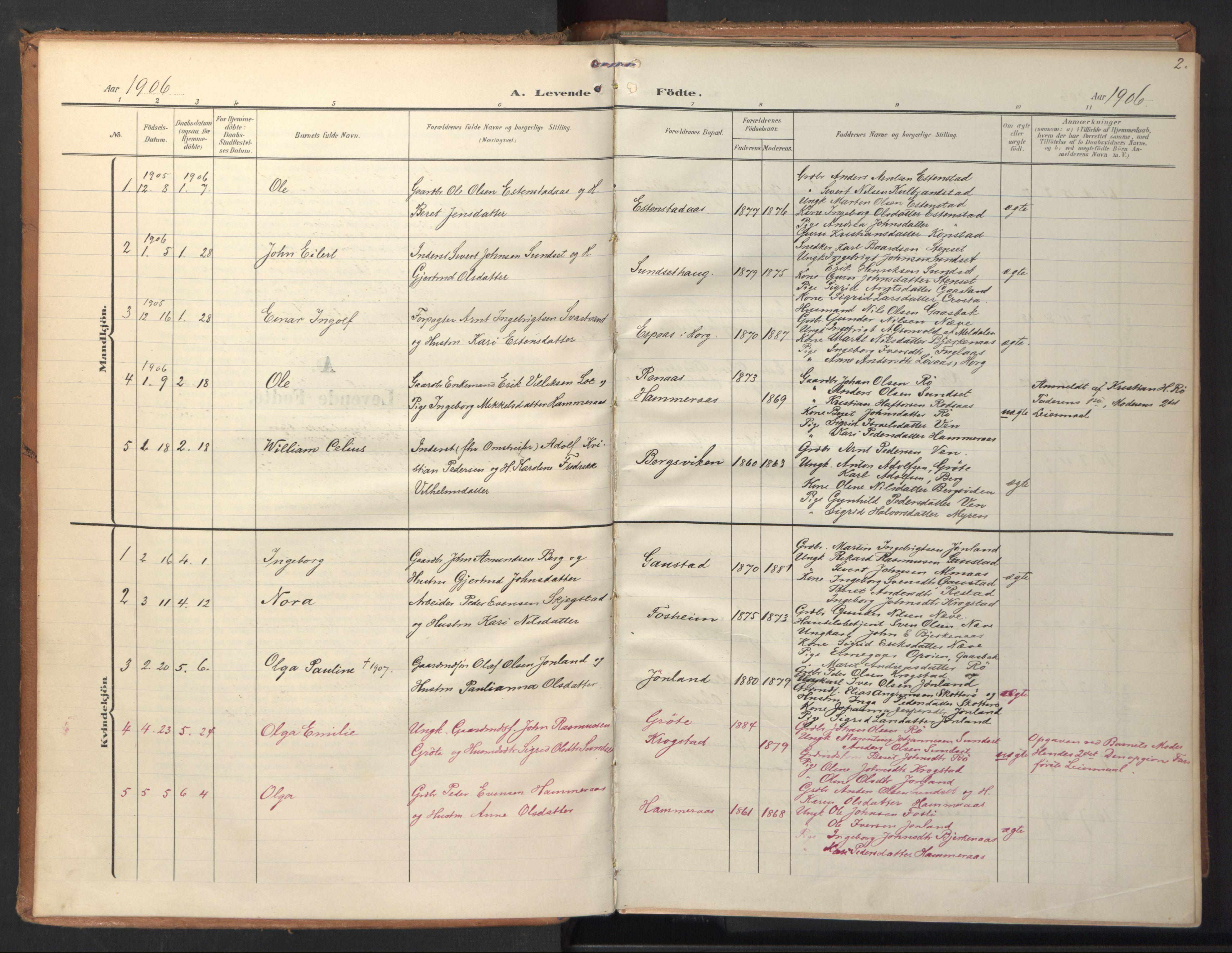 SAT, Ministerialprotokoller, klokkerbøker og fødselsregistre - Sør-Trøndelag, 694/L1128: Ministerialbok nr. 694A02, 1906-1931, s. 2